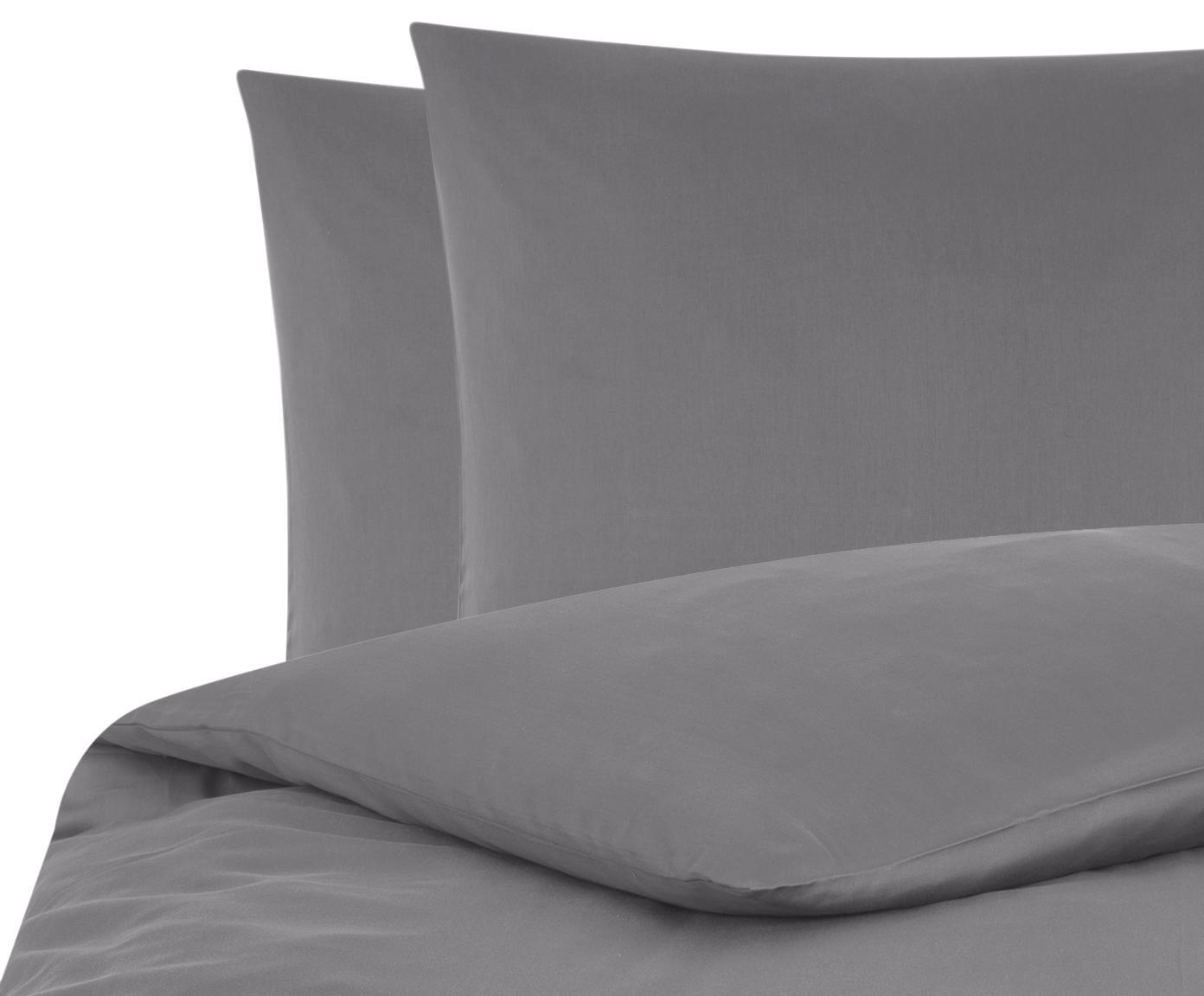 Baumwollsatin-Bettwäsche Comfort in Dunkelgrau, Webart: Satin Fadendichte 250 TC,, Dunkelgrau, 200 x 200 cm + 2 Kissen 80 x 80 cm