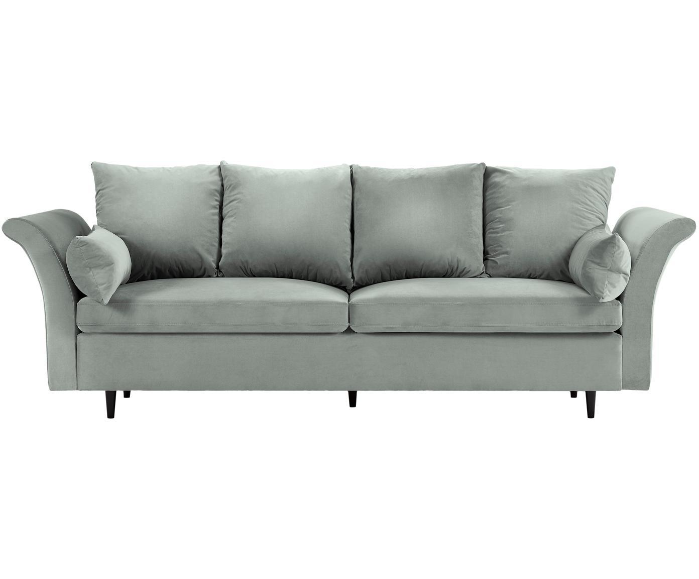 Sofa rozkładana z aksamitu Lola (3-osobowa), Tapicerka: aksamit poliestrowy, Nogi: drewno sosnowe, lakierowa, Jasny szary, S 245 x G 95 cm