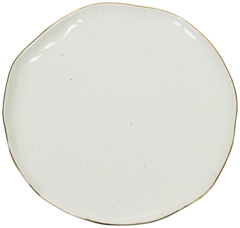 Handgemachte Speiseteller Bol mit Goldrand, 2 Stück, Porzellan, Cremeweiss, Ø 26 x H 3 cm