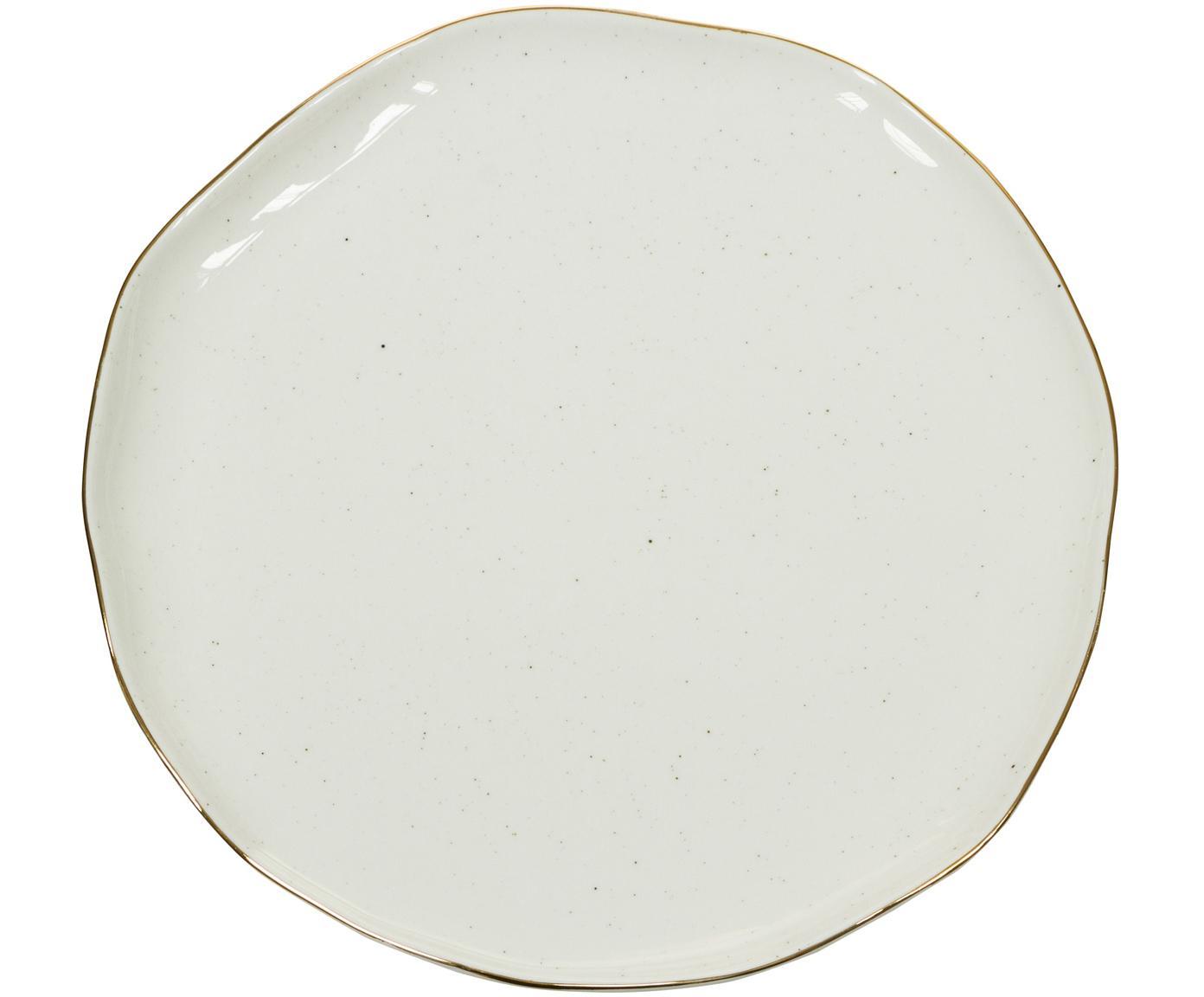 Piatto piano fatto a mano con bordo dorato Bol 2 pz, Porcellana, Bianco crema, Ø 26 x Alt. 3 cm