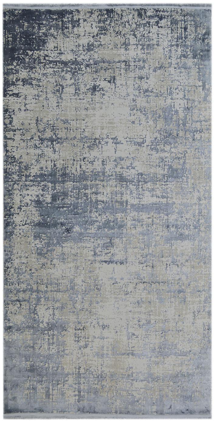 Tappeto vintage con frange effetto lucido Cordoba, Retro: cotone, Blu, grigio, Larg. 80 x Lung. 150 cm (taglia XS)