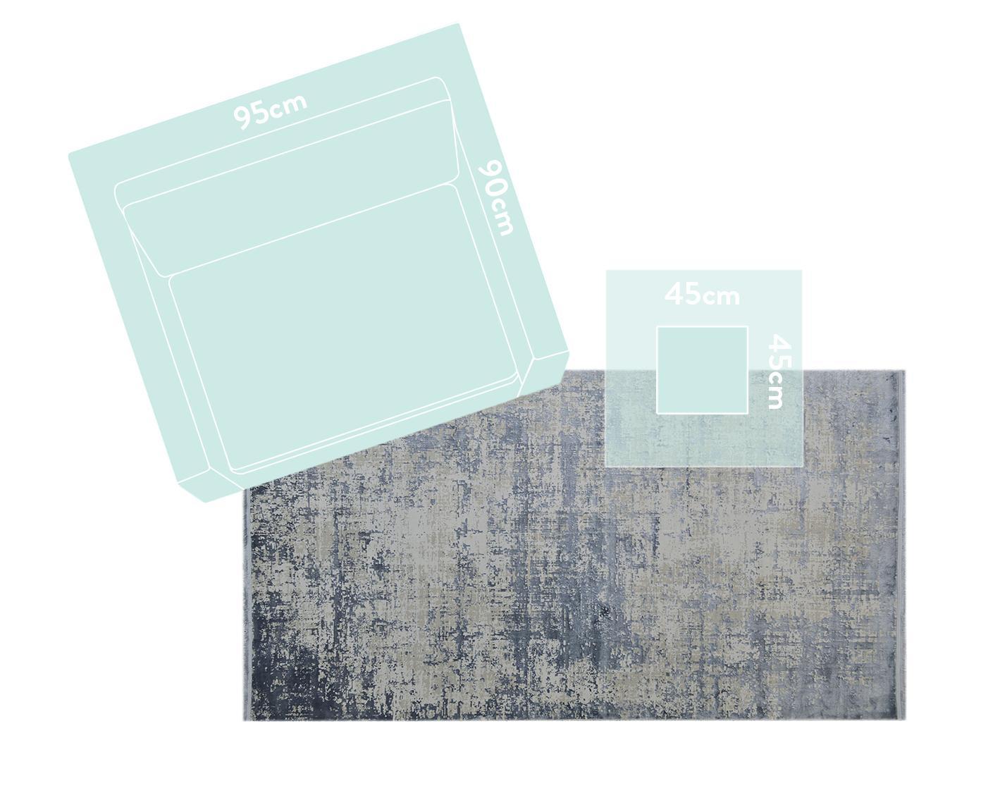 Alfombra con flecos Cordoba, estilo vintage, Parte superior: 70%acrílico, 30%viscosa, Reverso: algodón, Azul, gris, An 240 x L 340 cm (Tamaño XL)