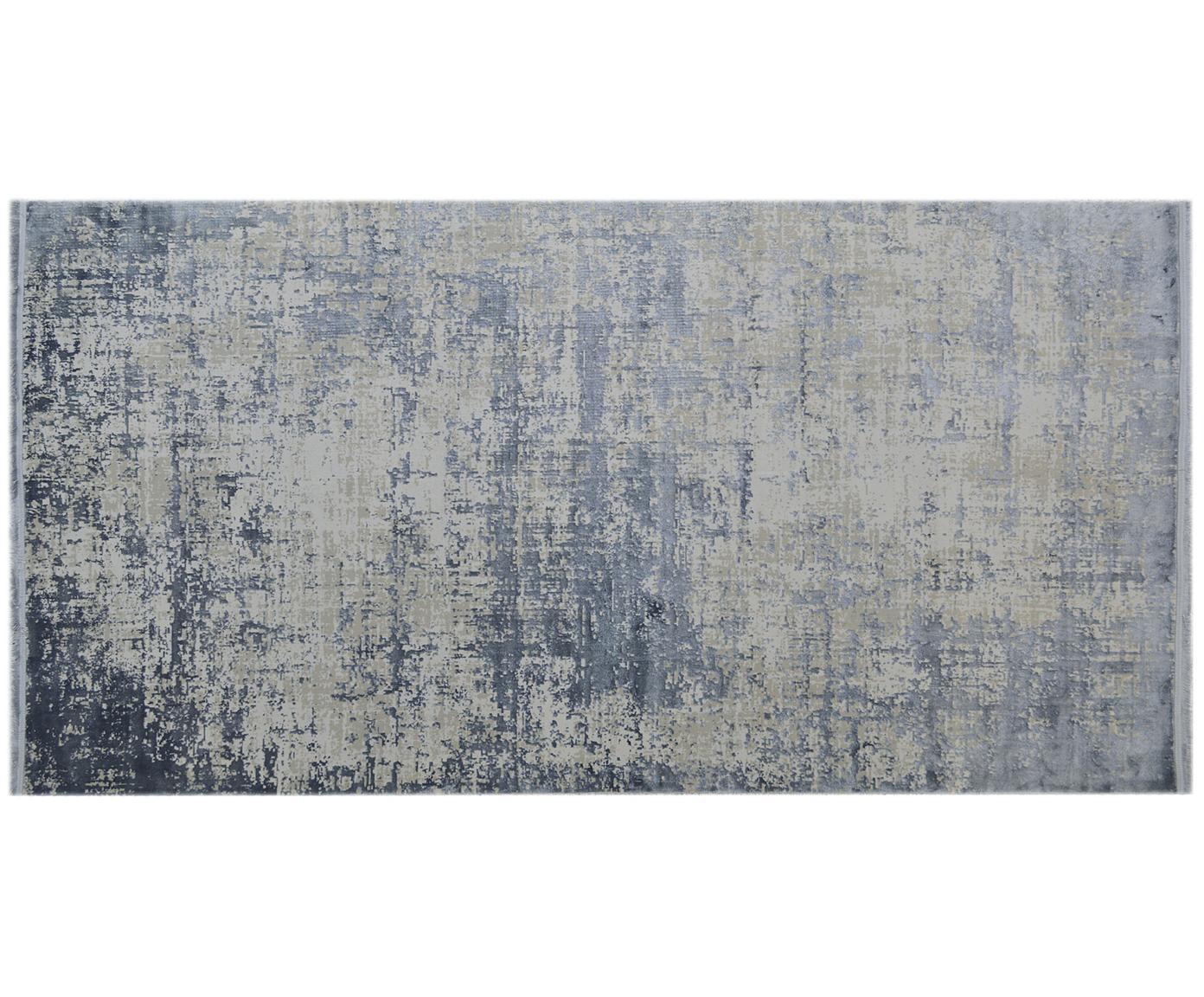 Vintage vloerkleed Cordoba met franjes, glinsterend, Bovenzijde: 70% acryl, 30% viscose, Onderzijde: katoen, Blauw, grijs, B 80 x L 150 cm (maat XS)