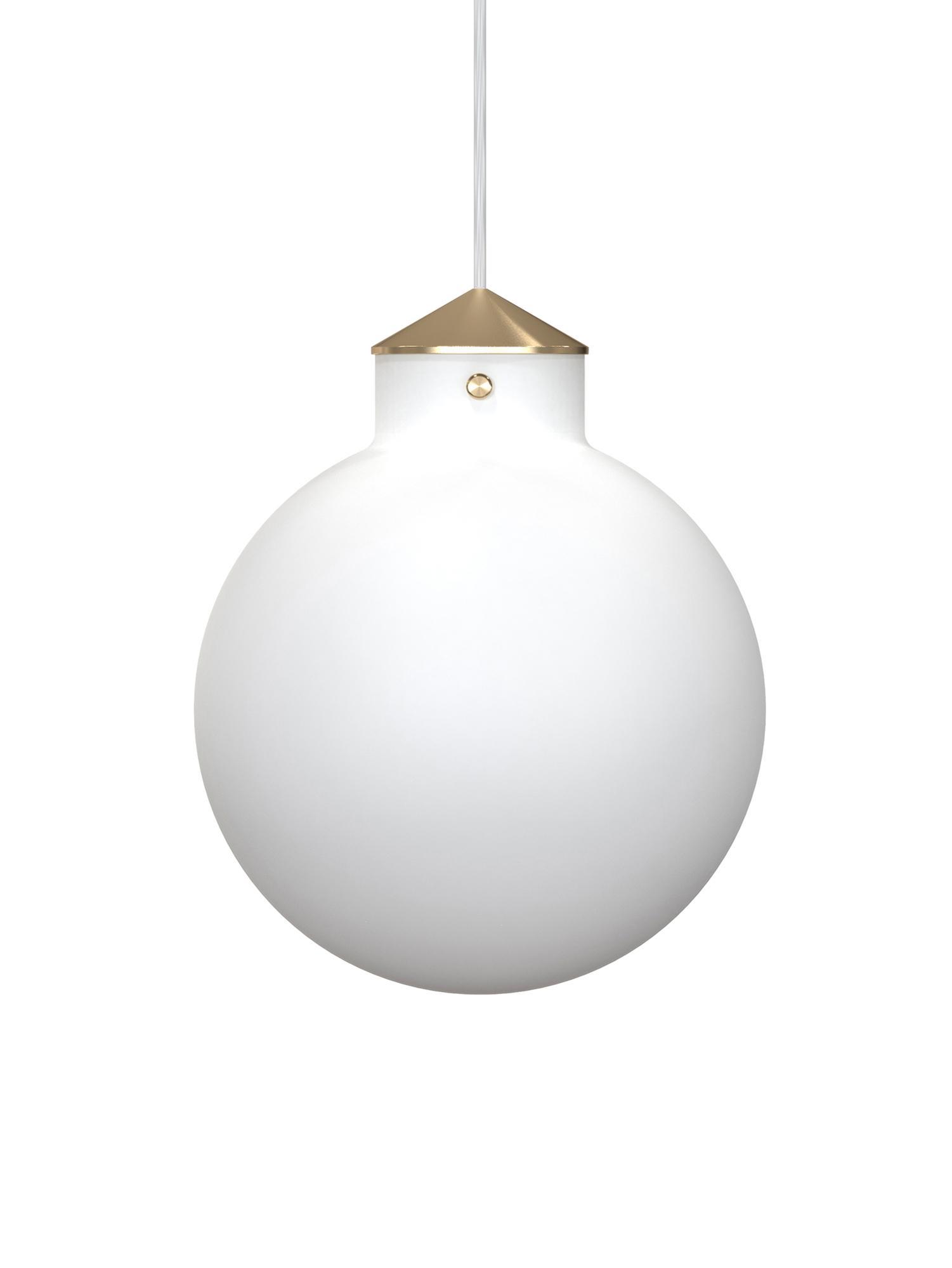 Lampada a sospensione Raito, Vetro opale, metallo, Bianco opalino, ottone, Ø 30 x Alt. 37 cm