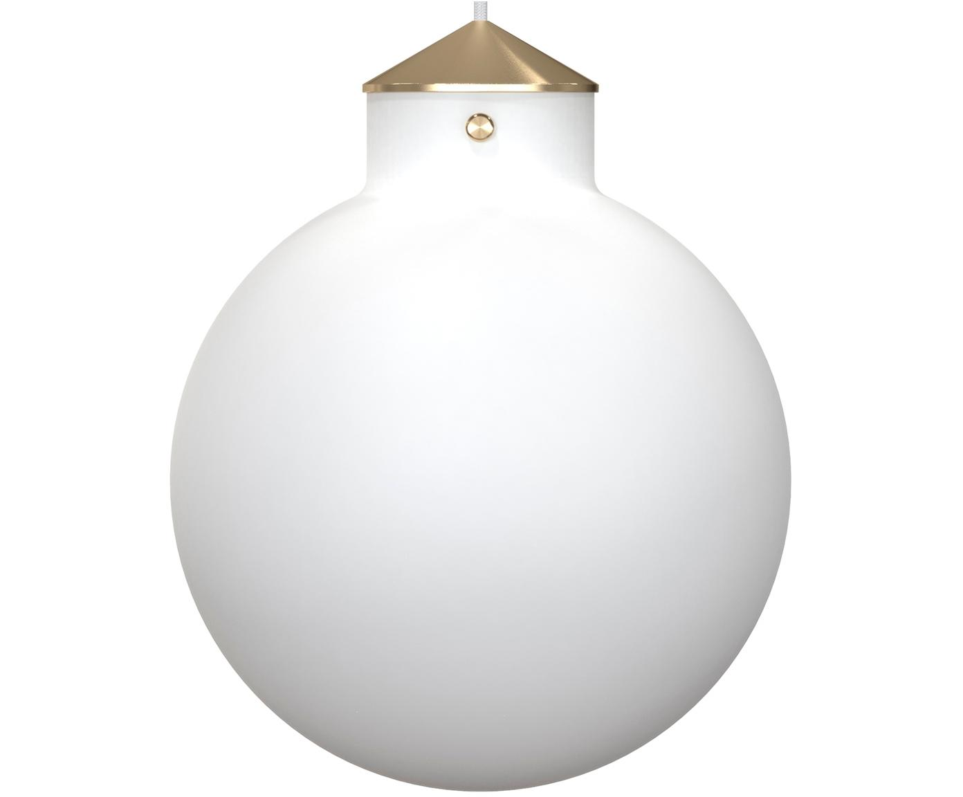 Lámpara de techo Raito, Vidrio opalino, metal, Blanco opalino, latón, Ø 30 x Al 37 cm