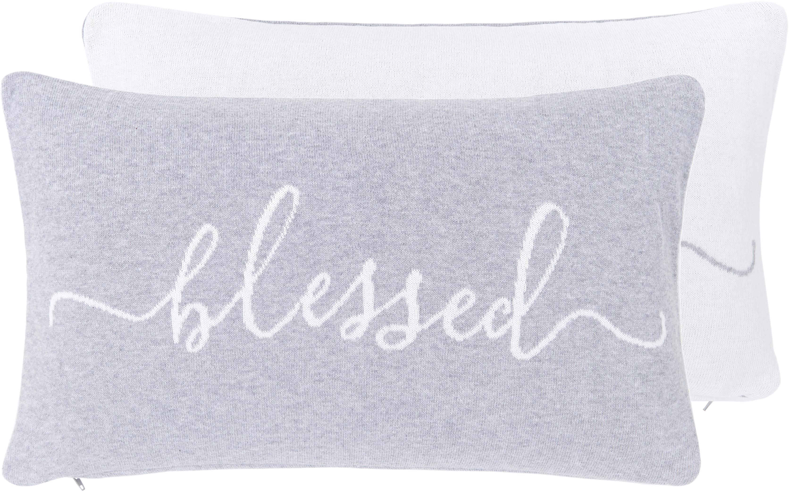 Federa reversibile fatta a maglia fine Besina, 100% cotone, Grigio chiaro, bianco crema, Larg. 30 x Lung. 50 cm