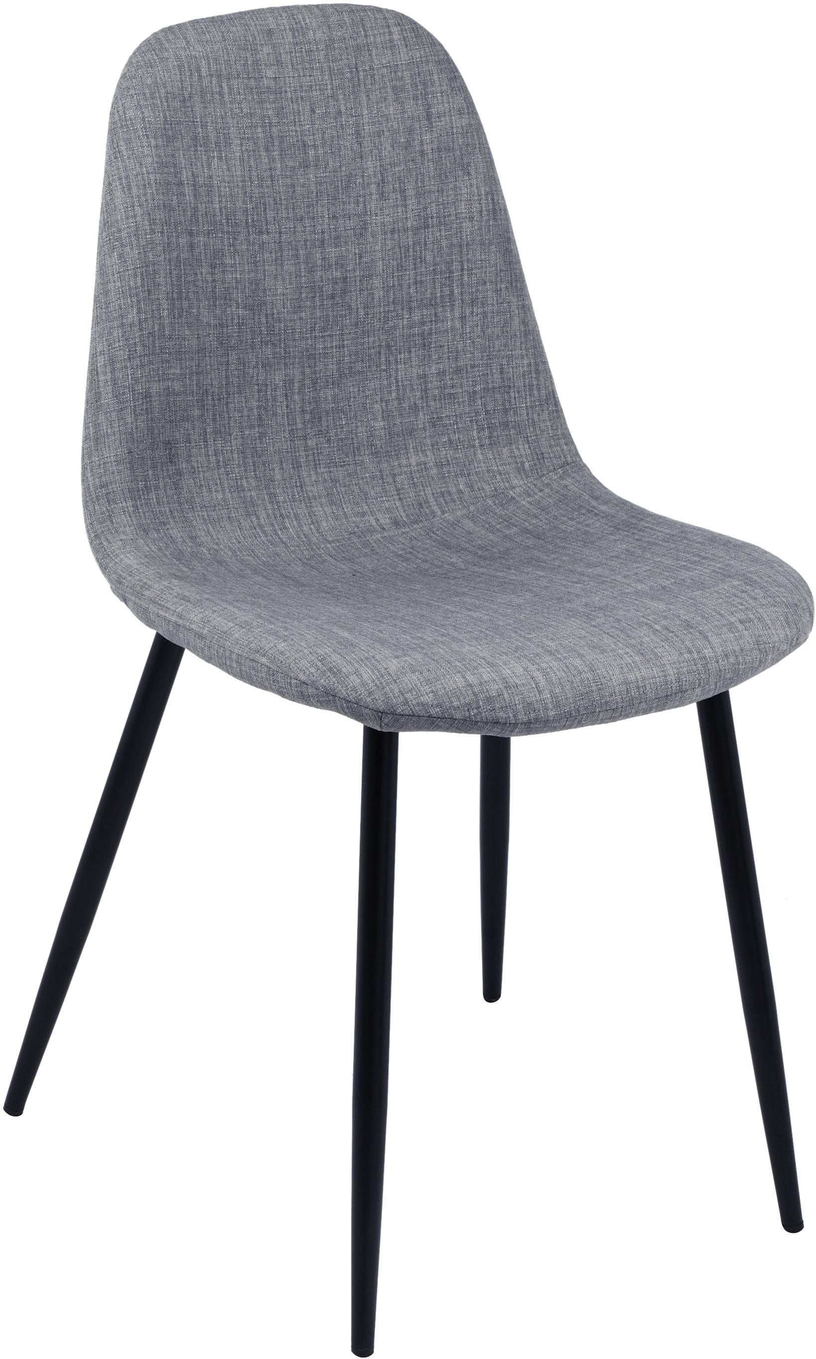 Sillas tapizadas Karla, 2uds., Tapizado: 100%poliéster, Patas: metal, Tejido gris claro, patas negro, An 44 x F 53 cm