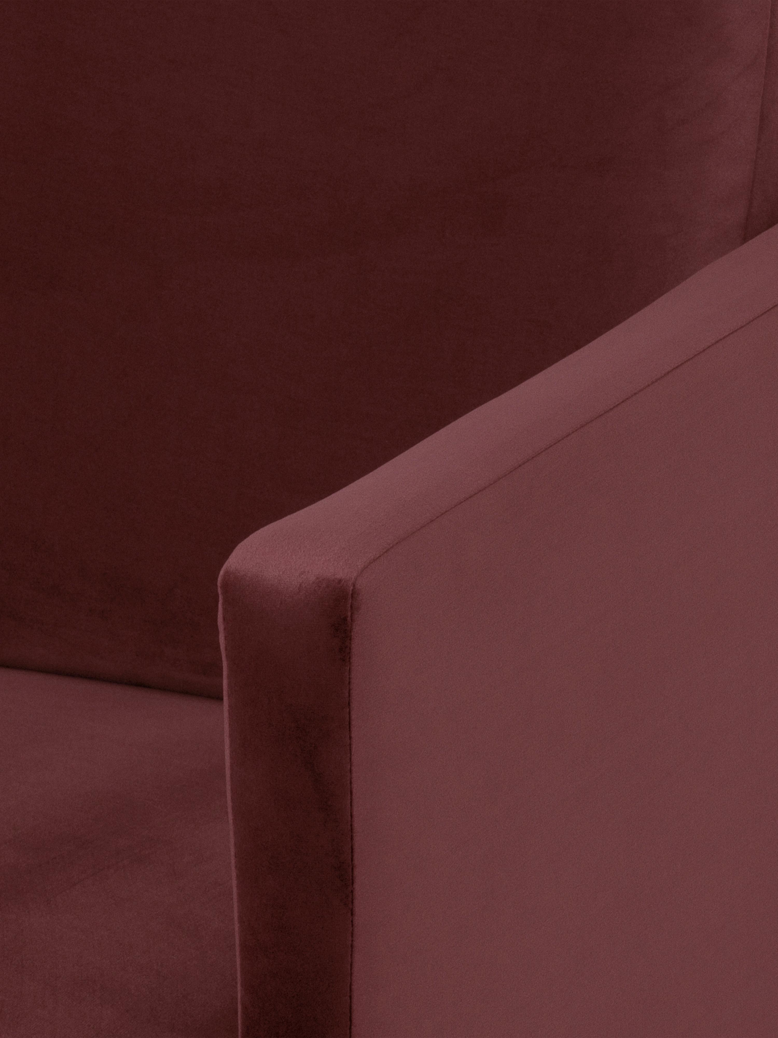 Divano angolare in velluto rosso ruggine Fluente, Rivestimento: velluto (rivestimento in , Struttura: legno di pino massiccio, Piedini: metallo verniciato a polv, Velluto rosso ruggine, Larg. 221 x Prof. 200 cm
