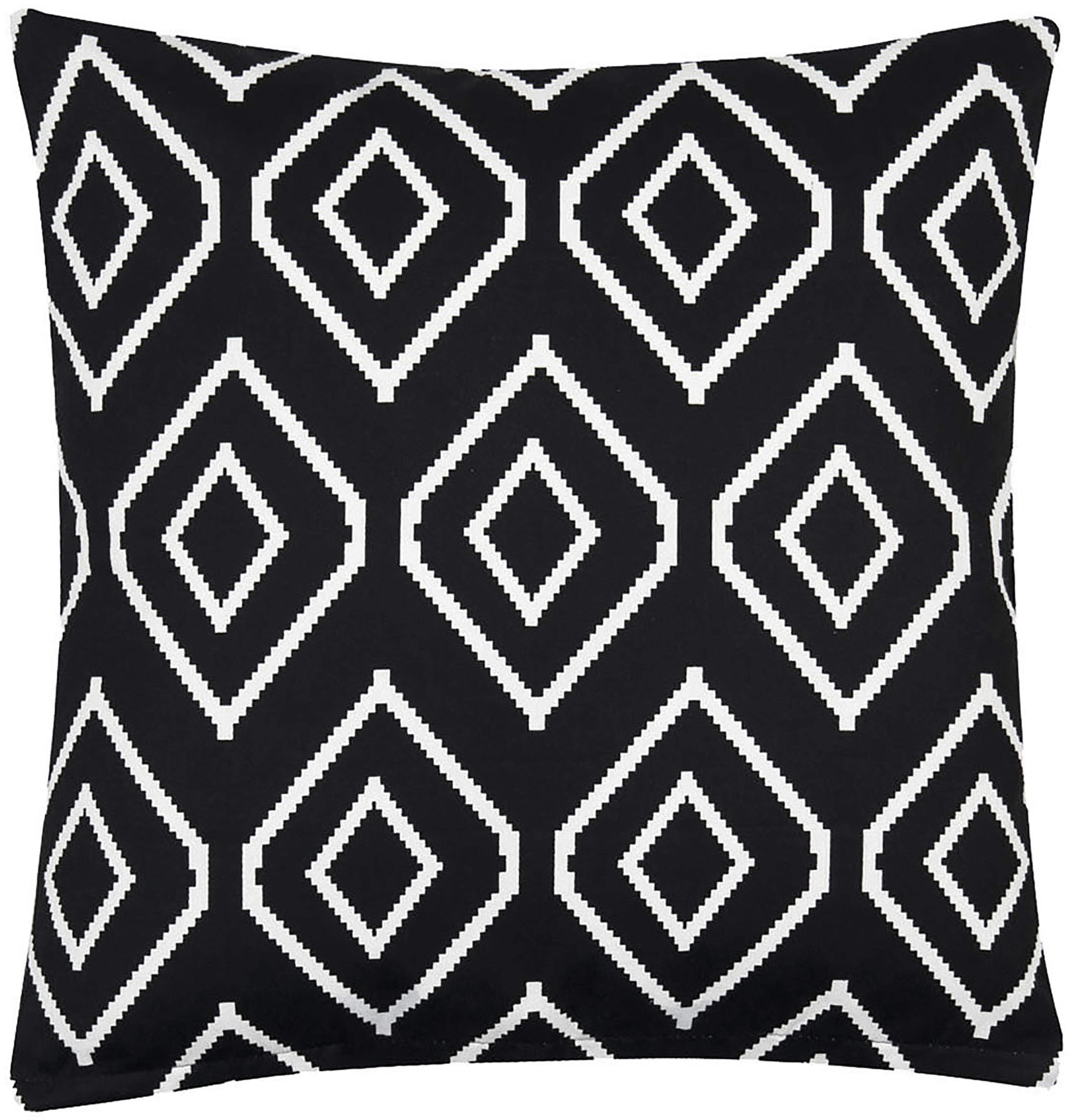 Funda de cojín Liz, 100%algodón, tela Panamá, Negro, crema, An 40 x L 40 cm