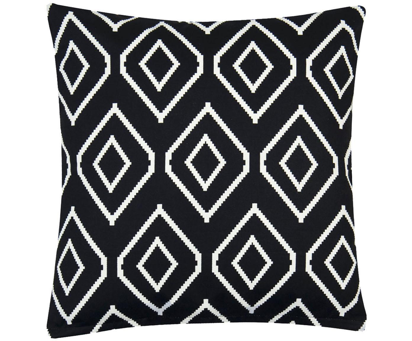 Federa arredo in nero/bianco Gracie, Cotone, tessuto panama, Nero, crema, Larg. 40 x Lung. 40 cm
