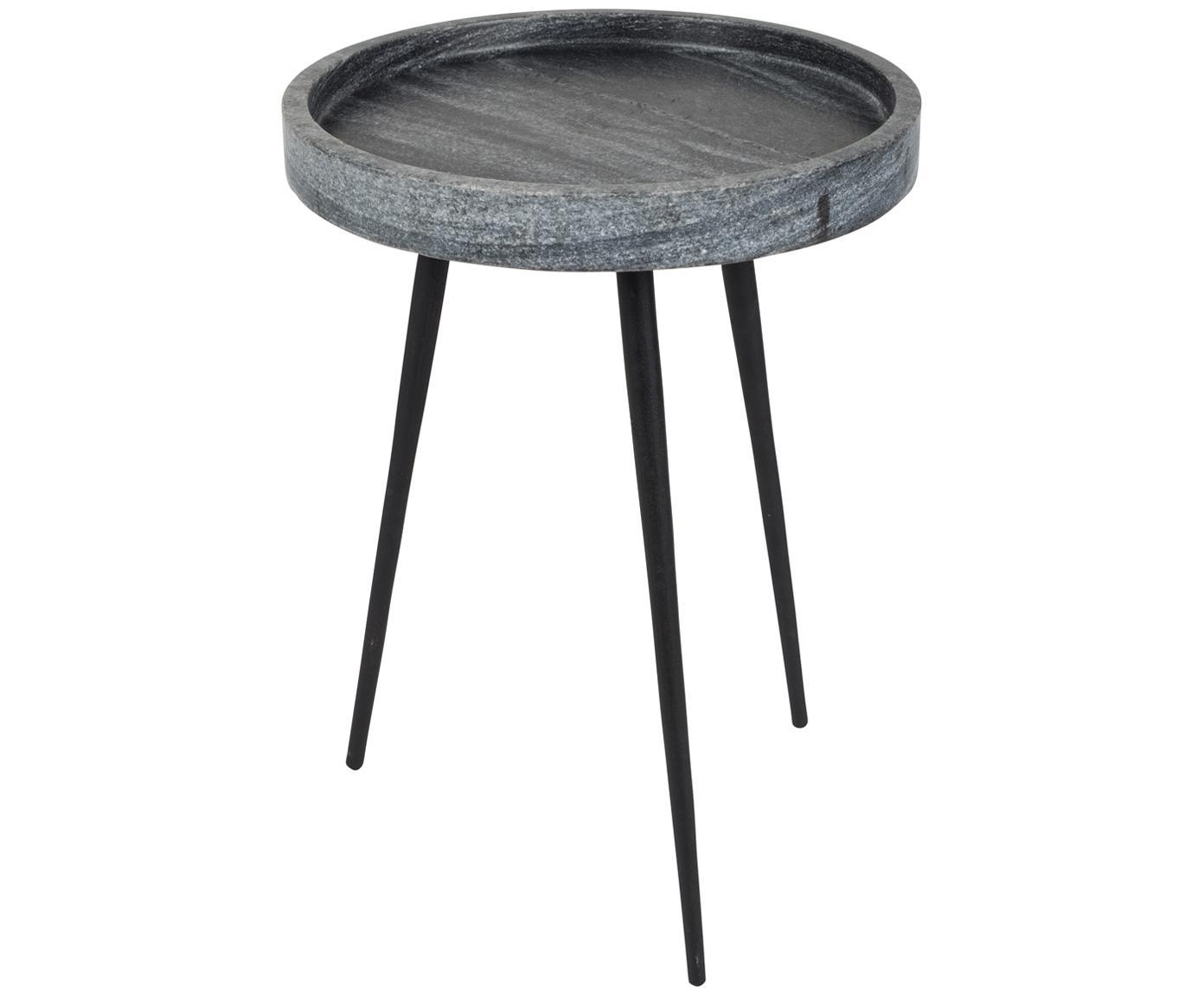 Runder Marmor-Beistelltisch Karrara, Tischplatte: Marmor, Beine: Metall, pulverbeschichtet, Grau, Schwarz, Ø 33 x H 45 cm