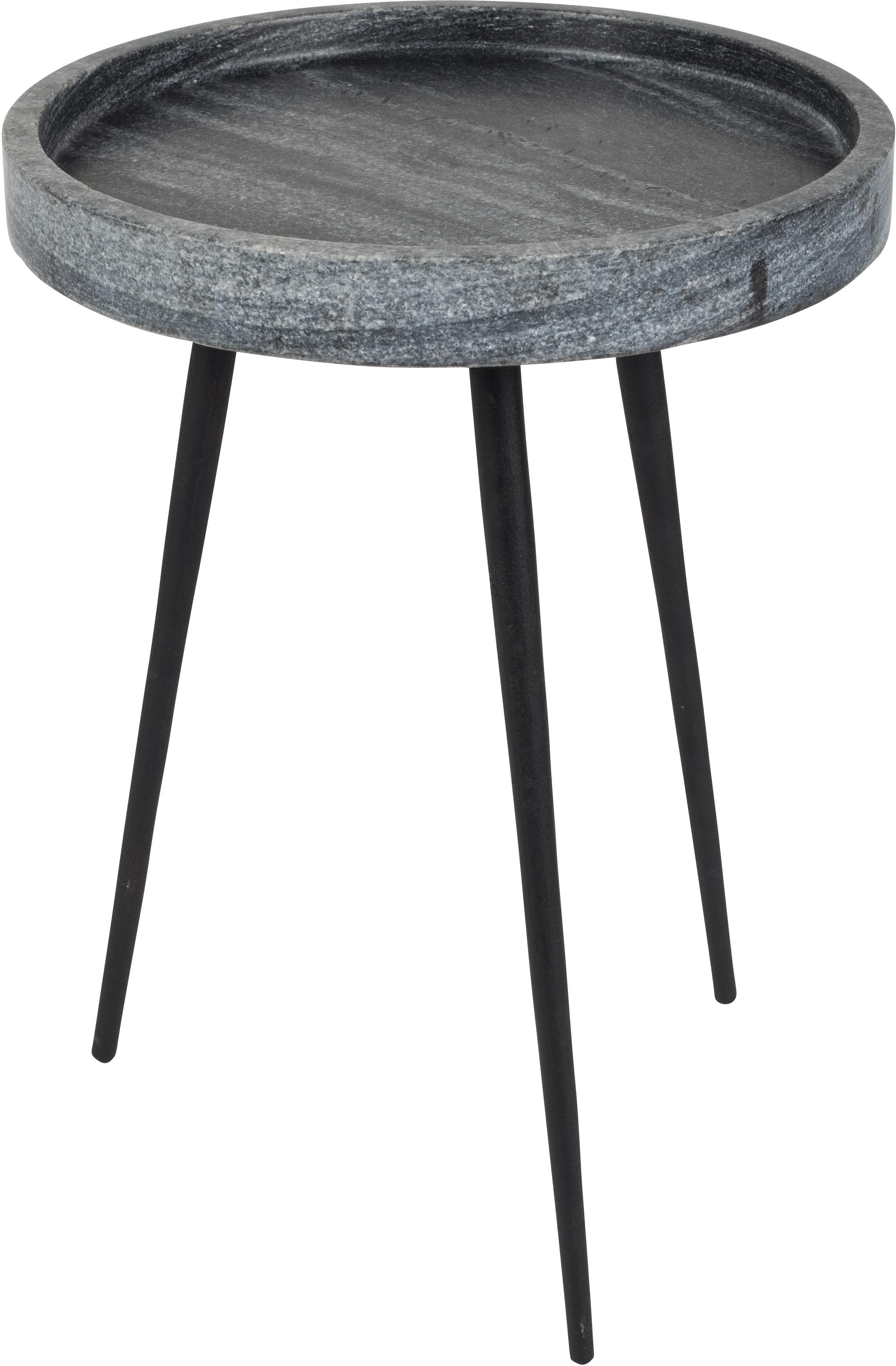 Mesa auxiliar redonda de mármol Karrara, Tablero: mármol, Patas: metal, pintura en polvo, Tablero: gris, veteado Patas: negro, Ø 33 x Al 45 cm