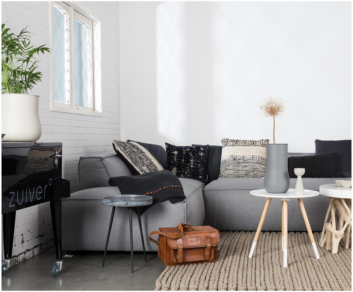 Stolik pomocniczy z marmuru Karrara, Blat: marmur, Nogi: metal malowany proszkowo, Blat: szary, marmurowy<br>Nogi: czarny, Ø 33 x W 45 cm
