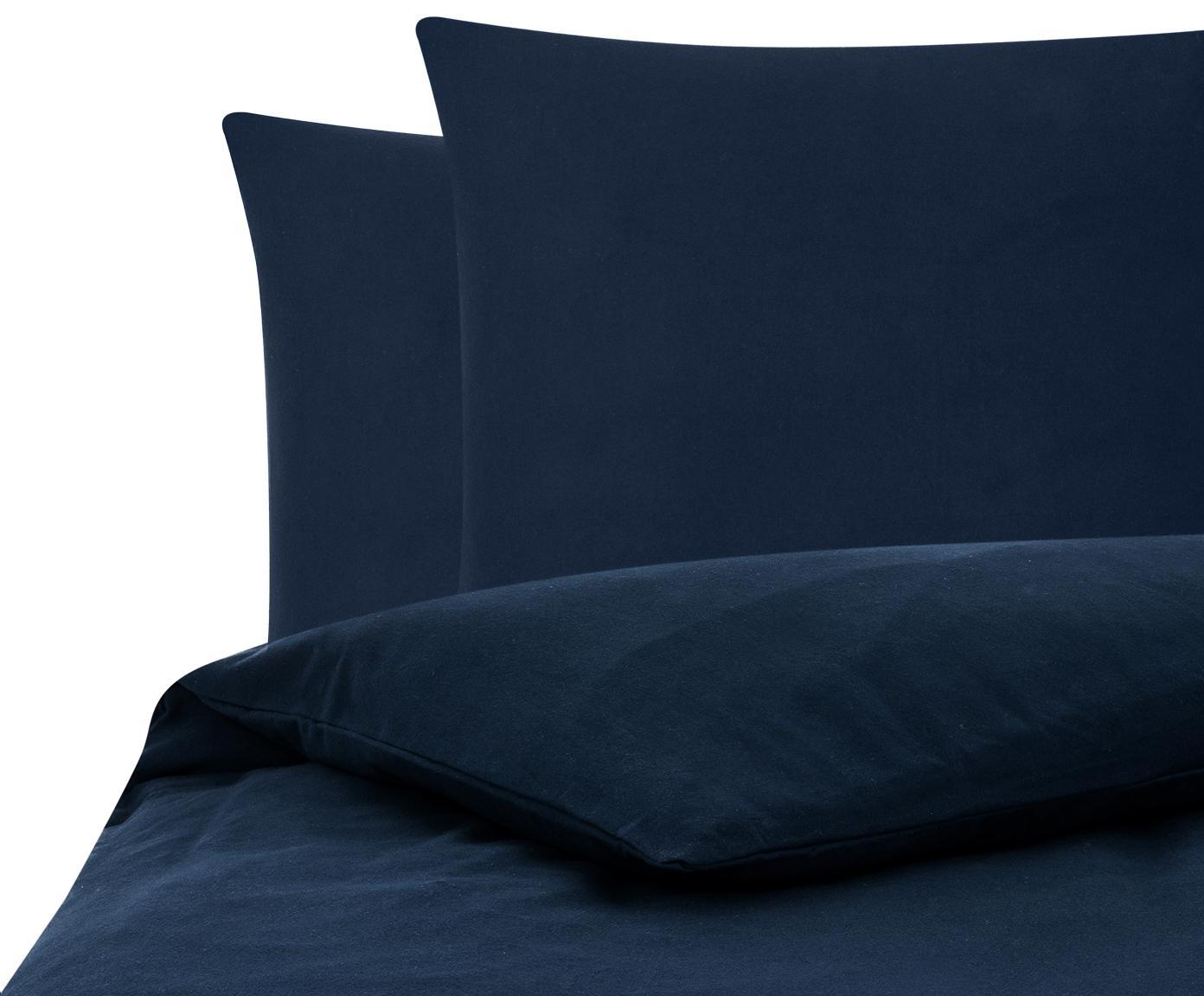 Flanell-Bettwäsche Biba in Navyblau, Webart: Flanell Flanell ist ein s, Navyblau, 200 x 200 cm + 2 Kissen 80 x 80 cm