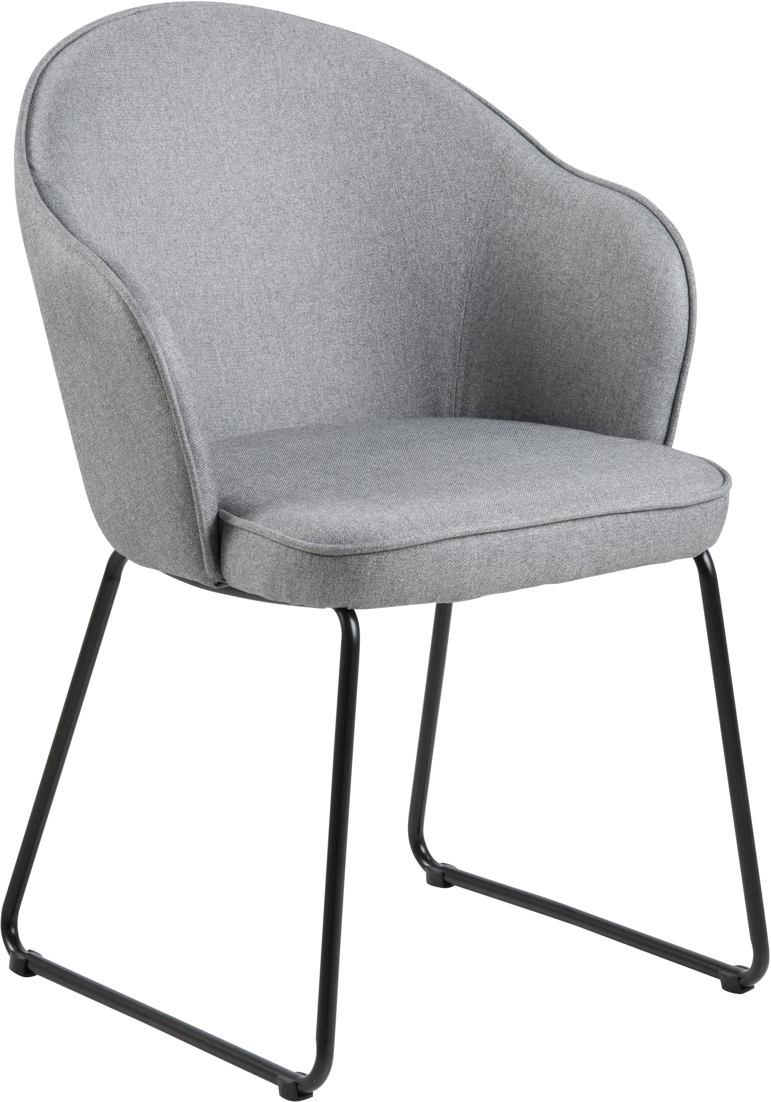 Armstoel Mitzie, Bekleding: polyester, Poten: gelakt metaal, Lichtgrijs, zwart, B 57 x D 59 cm