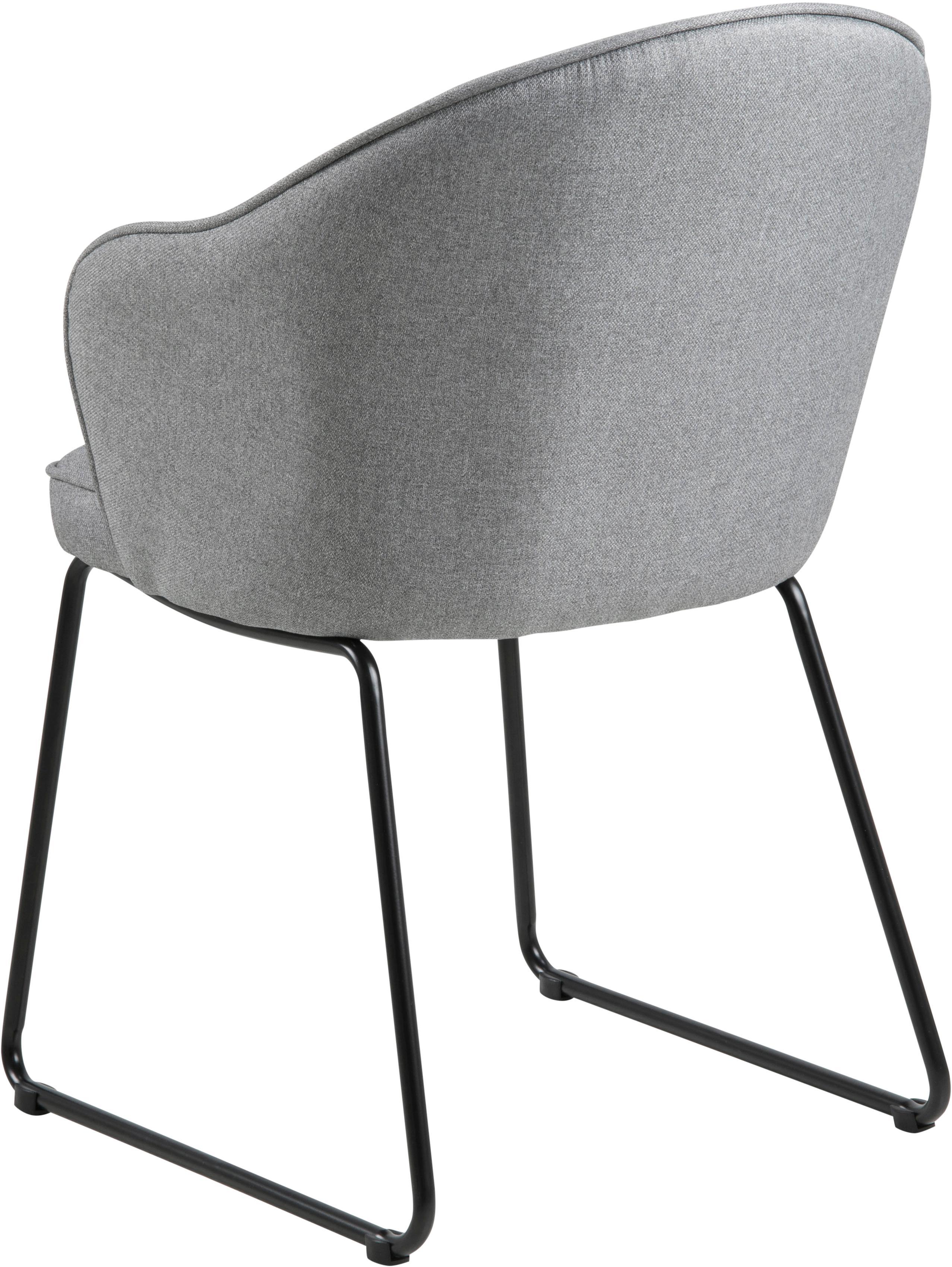 Armlehnstuhl Mitzie, Bezug: Polyester Der hochwertige, Beine: Metall, lackiert, Webstoff Hellgrau, Beine Schwarz, B 57 x T 59 cm