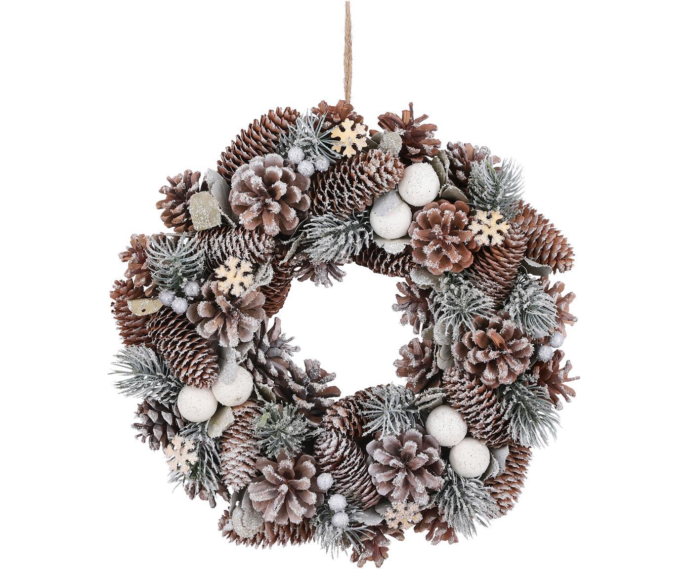 Kerstkrans Nicola, Natuurlijke vezels, Bruin, wit, groen, Ø 34 cm