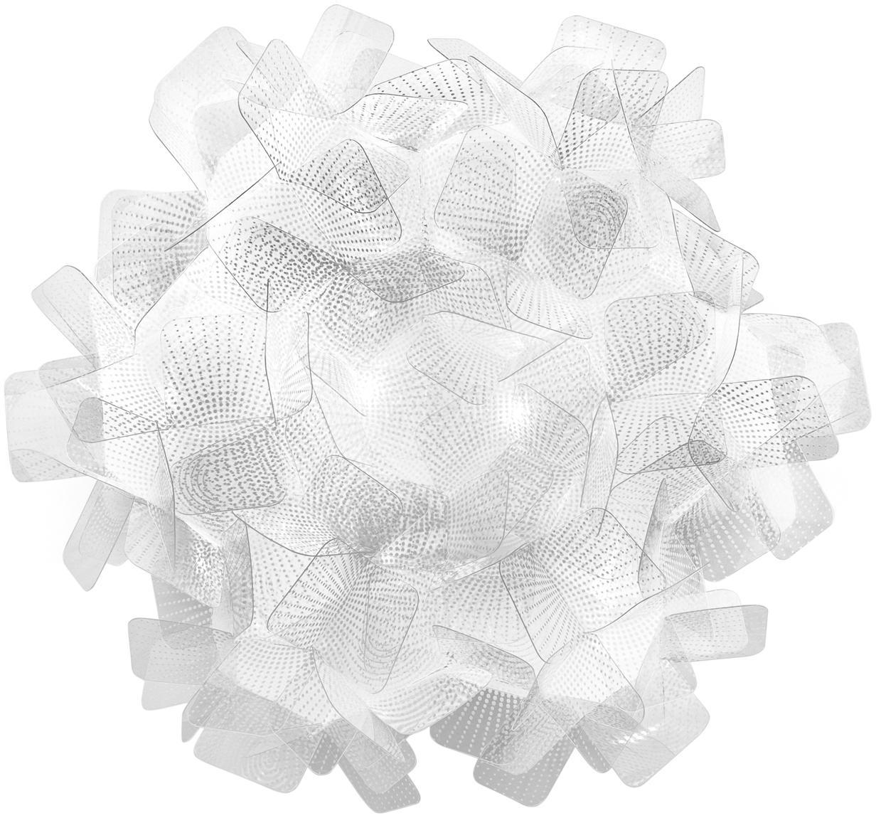 Handgefertigte Decken- und Wandleuchte Clizia Pixel, Technopolymer Opalflex®, recycelbar, bruchfest, flexibel, antistatisch beschichtet, UV- und hitzebeständig, Transparent, Ø 32 x T 15 cm