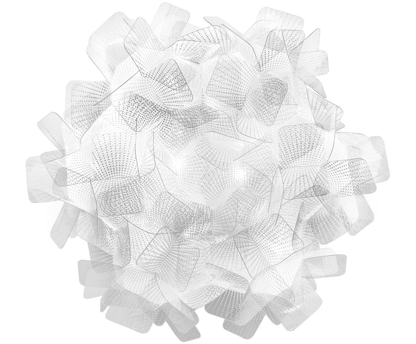 Handgemaakte wand- en plafondlamp Clizia Pixel, Technopolymeer Opalflex®, recyclebaar, onbreekbaar, flexibel, anti-statisch gecoat, UV- en hittebestendig, Transparant, Ø 32 x D 15 cm