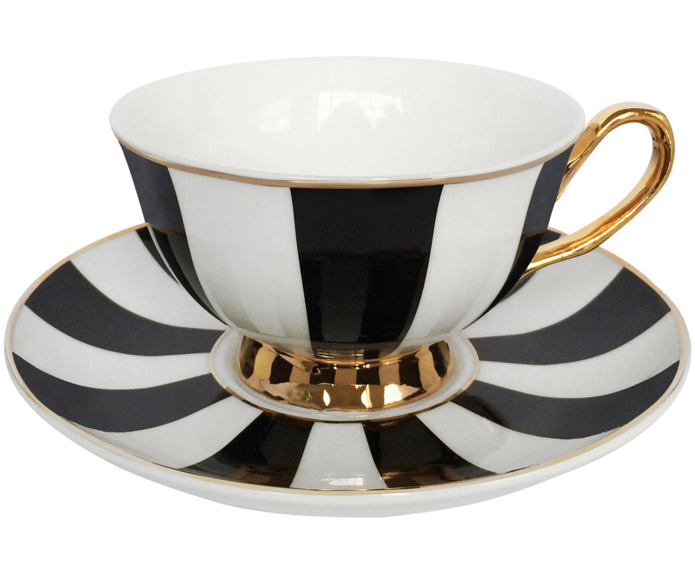 Filiżanka do herbaty ze spodkiem Stripy, Porcelana chińska, pozłacana, Czarny, biały Krawędź i uchwyt: złoty, Ø 15 x W 6 cm