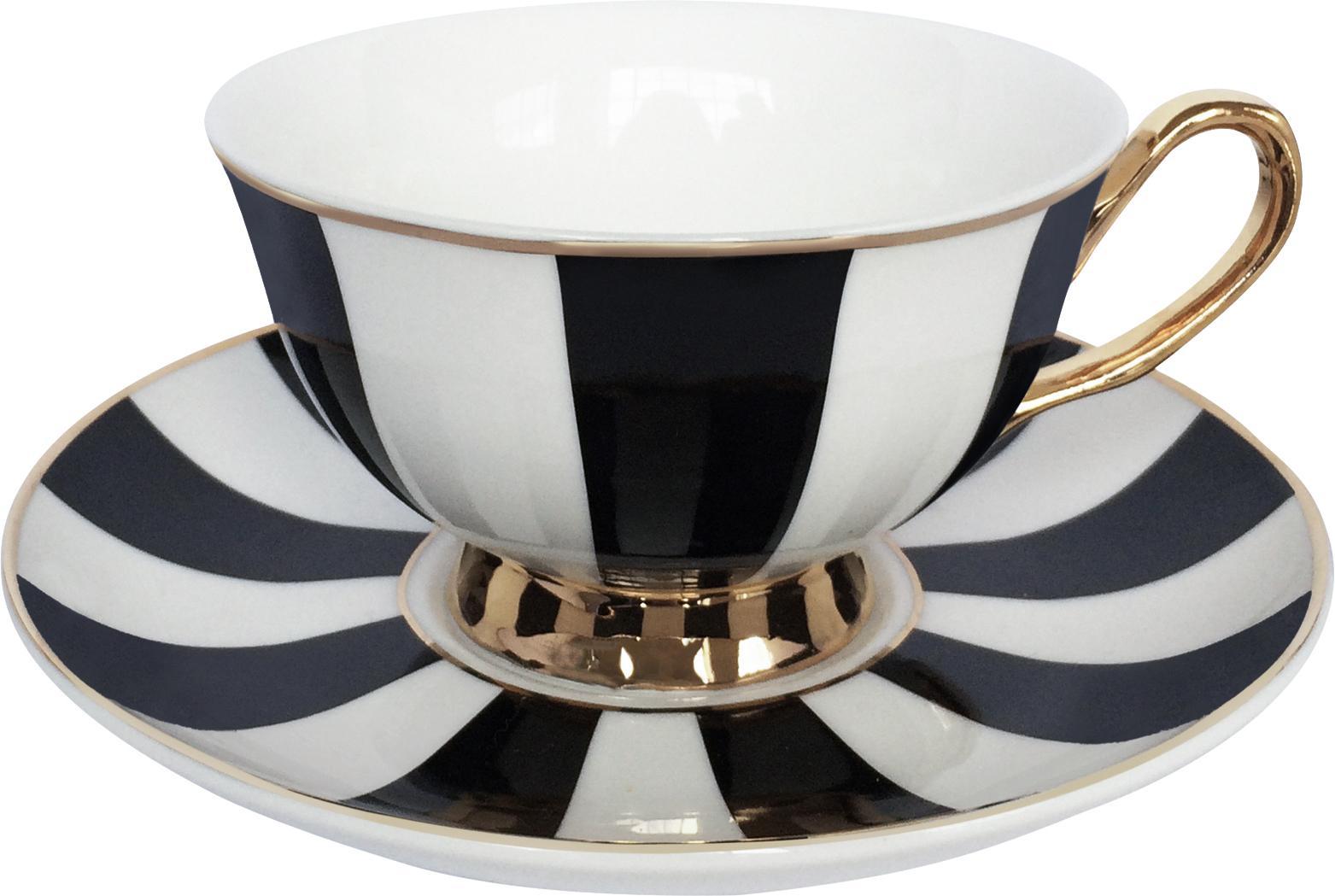 Teetasse mit Untertasse Stripy, Bone China, vergoldet, Schwarz, Weiß<br>Rand und Henkel: Gold, Ø 15 x H 6 cm