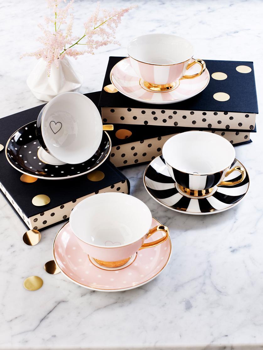Tazza da tè Stripy 2 pz, Porcellana cinese dorata, Nero, bianco Bordo e manico: dorato, Ø 15 x Alt. 6 cm