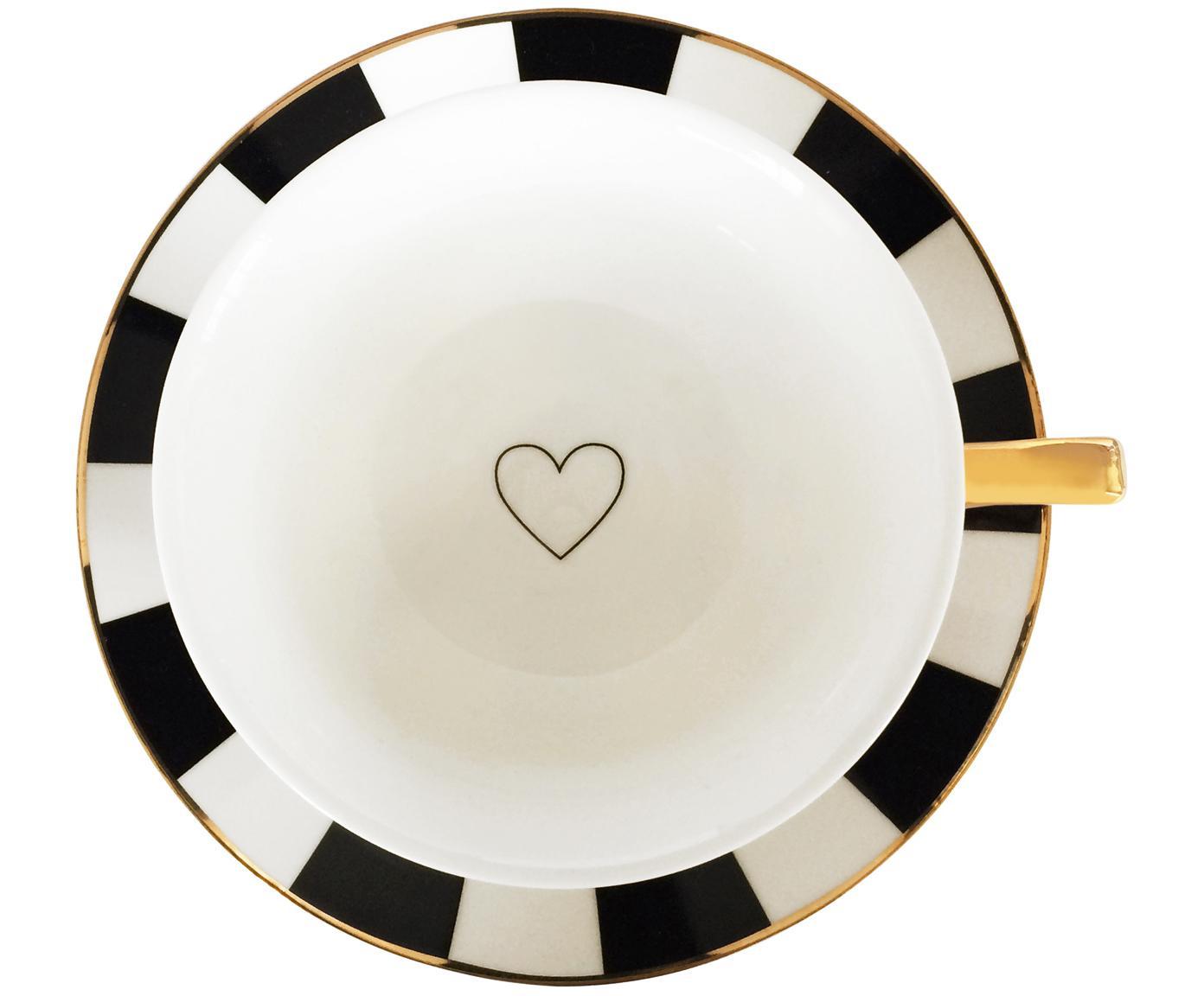 Tasses à thé Stripy, 2élém., Noir, blanc<br>Bord et poignée: or