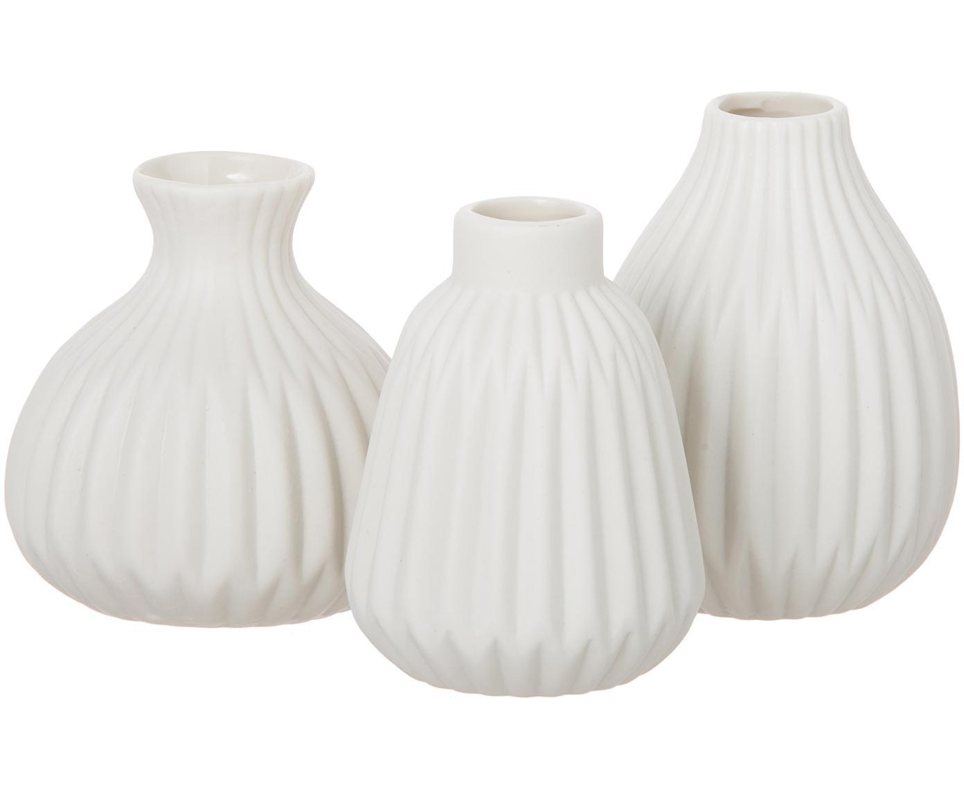 Komplet małych wazonów z porcelany Esko, 3 elem., Porcelana, Biały, Różne rozmiary