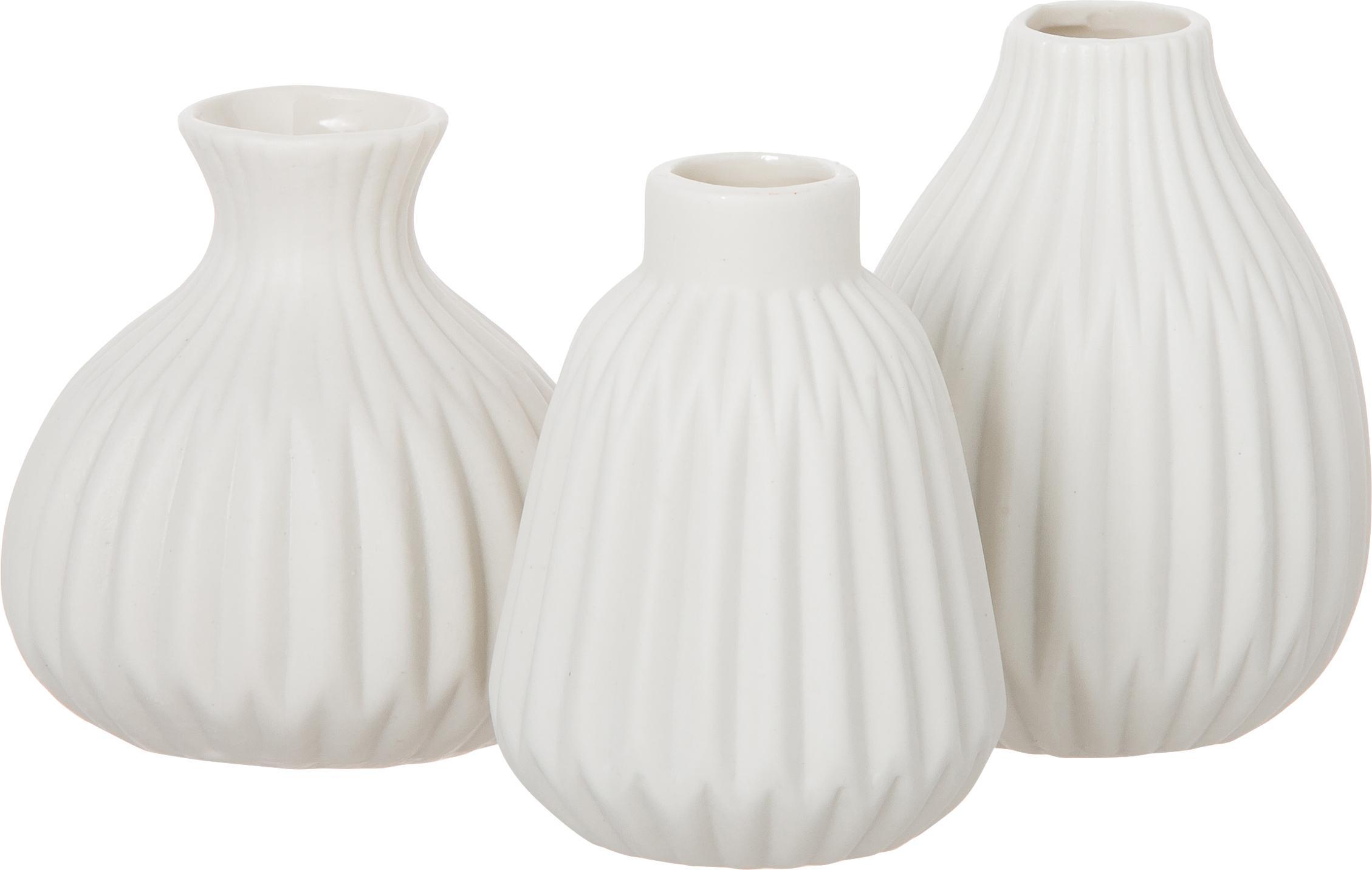 Kleines Vasen-Set Esko aus Porzellan, 3-tlg., Porzellan, Weiss, Set mit verschiedenen Grössen