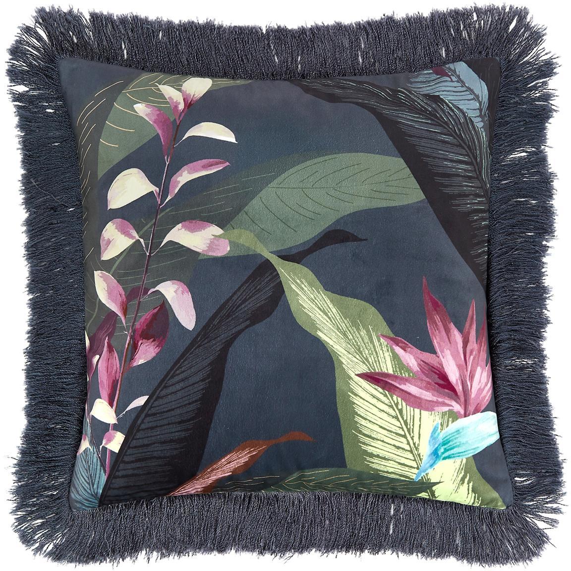 Federa arredo in velluto con frange Flora, Retro: cotone, Frange: viscosa, Multicolore Frange: verde scuro, Larg. 40 x Lung. 40 cm