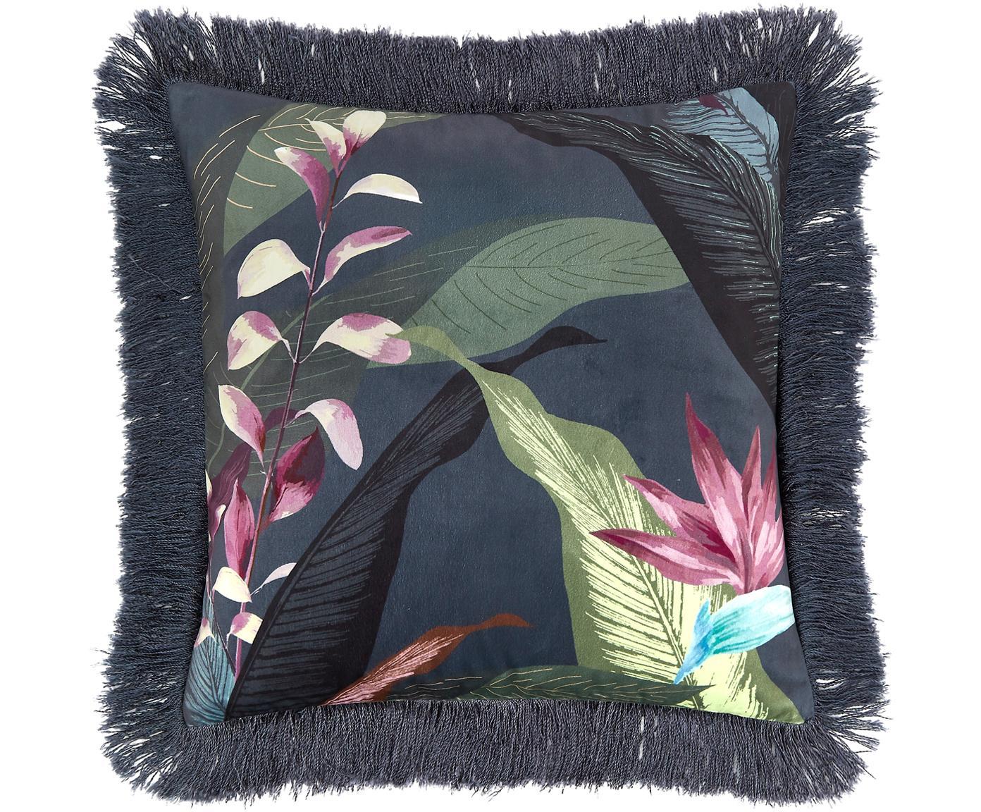 Samt-Kissenhülle Flora mit Fransen, Vorderseite: Polyestersamt, Rückseite: Baumwolle, Fransen: Viskose, MehrfarbigFransen: Dunkelgrün, 40 x 40 cm