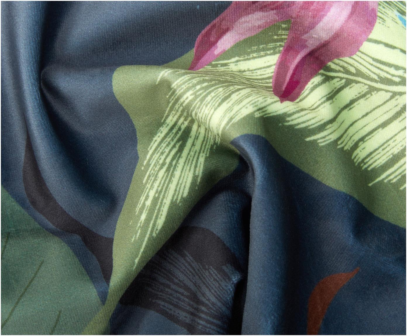 Housse de coussin en velours à franges Flora, Multicolore Franges: vert foncé