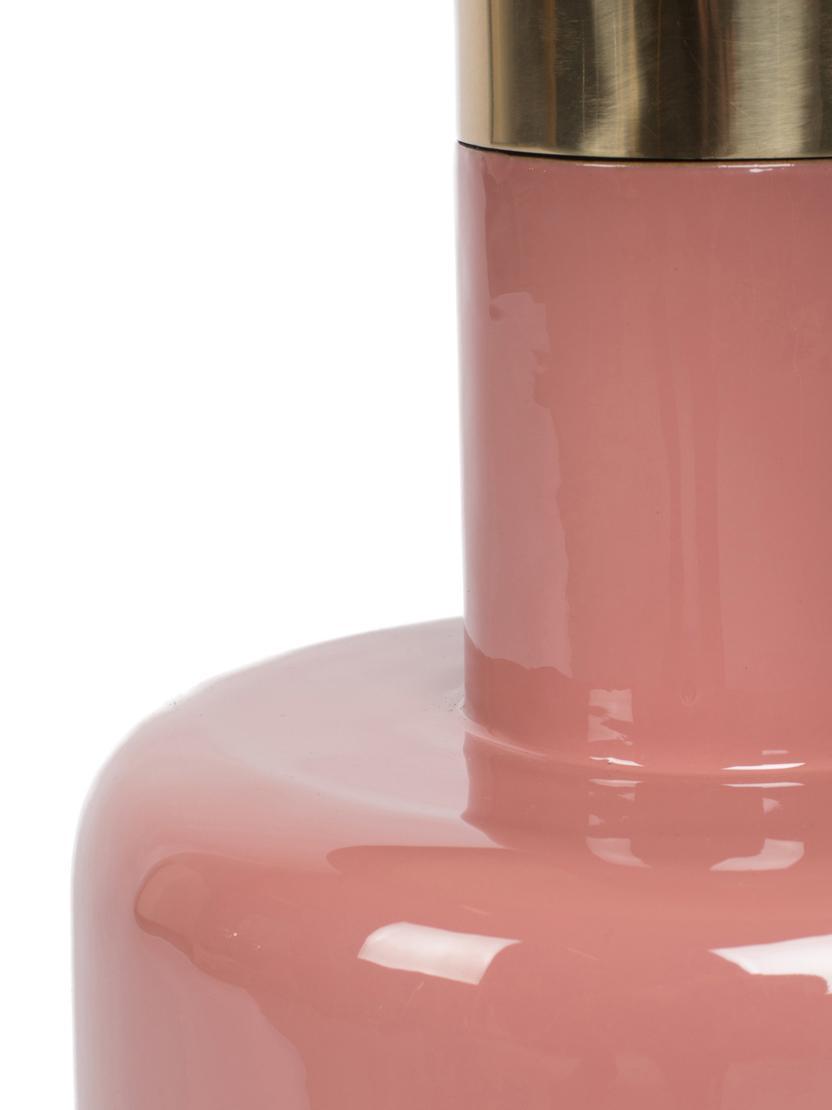 Emaille-Beistelltisch Glam in Rosa, Tischplatte: Metall, emailliert, Gestell: Metall, pulverbeschichtet, Rosa, Ø 36 x H 51 cm