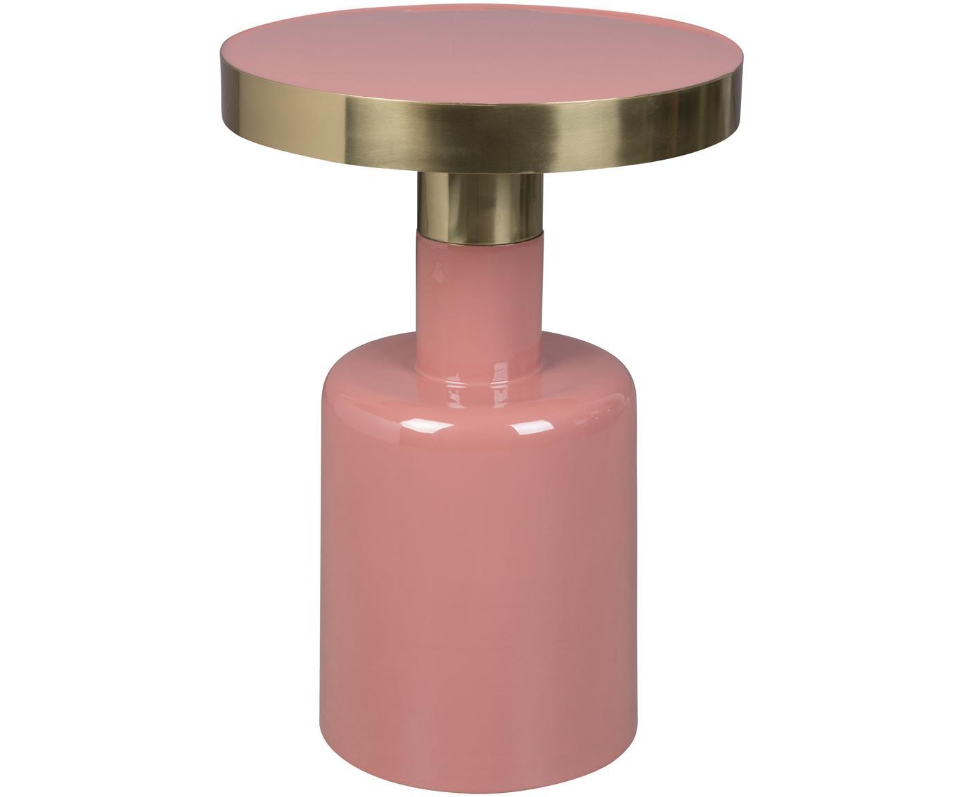 Stolik pomocniczy emaliowany Glam, Blat: metal emaliowany, Stelaż: metal malowany proszkowo, Blady różowy, Ø 36 x W 51 cm