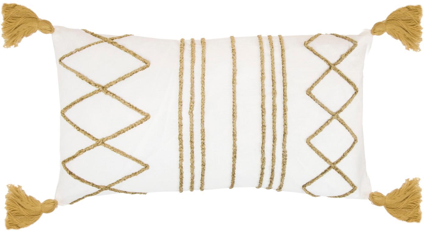 Kussenhoes Istanbul met hoog-laag patroon van chenille en kwastjes, 100% katoen, Wit, geel, 30 x 50 cm