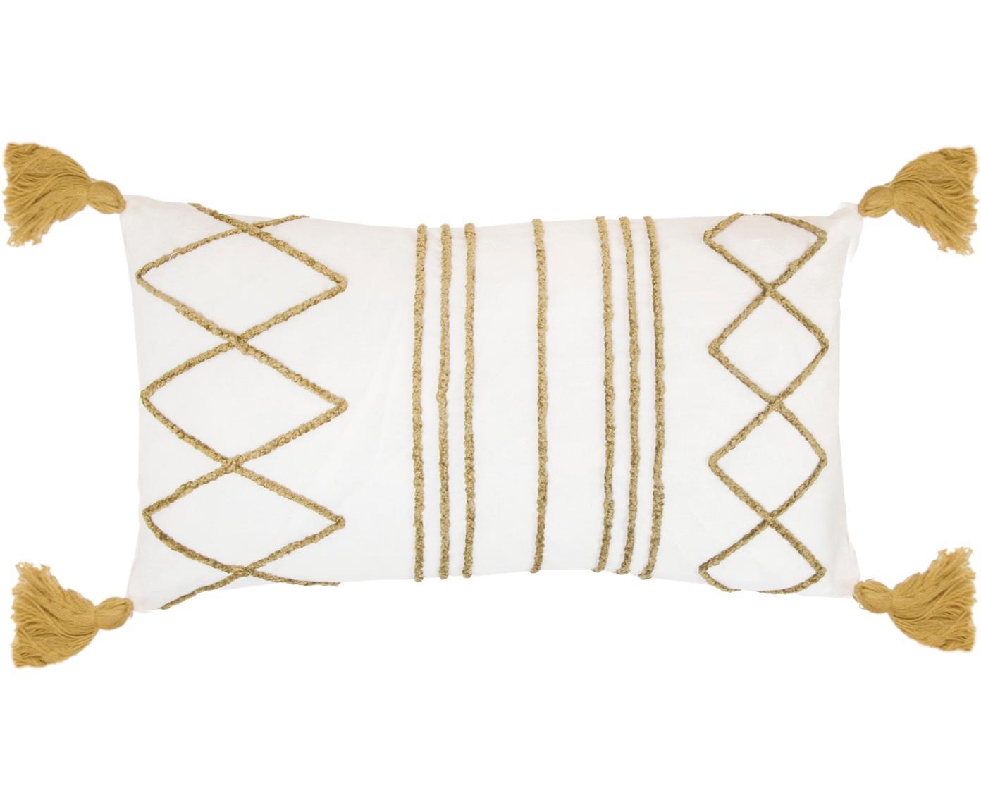 Kissenhülle Istanbul mit Hoch-Tief-Muster aus Chenille und Quasten, 100% Baumwolle, Weiss, Gelb, 30 x 50 cm