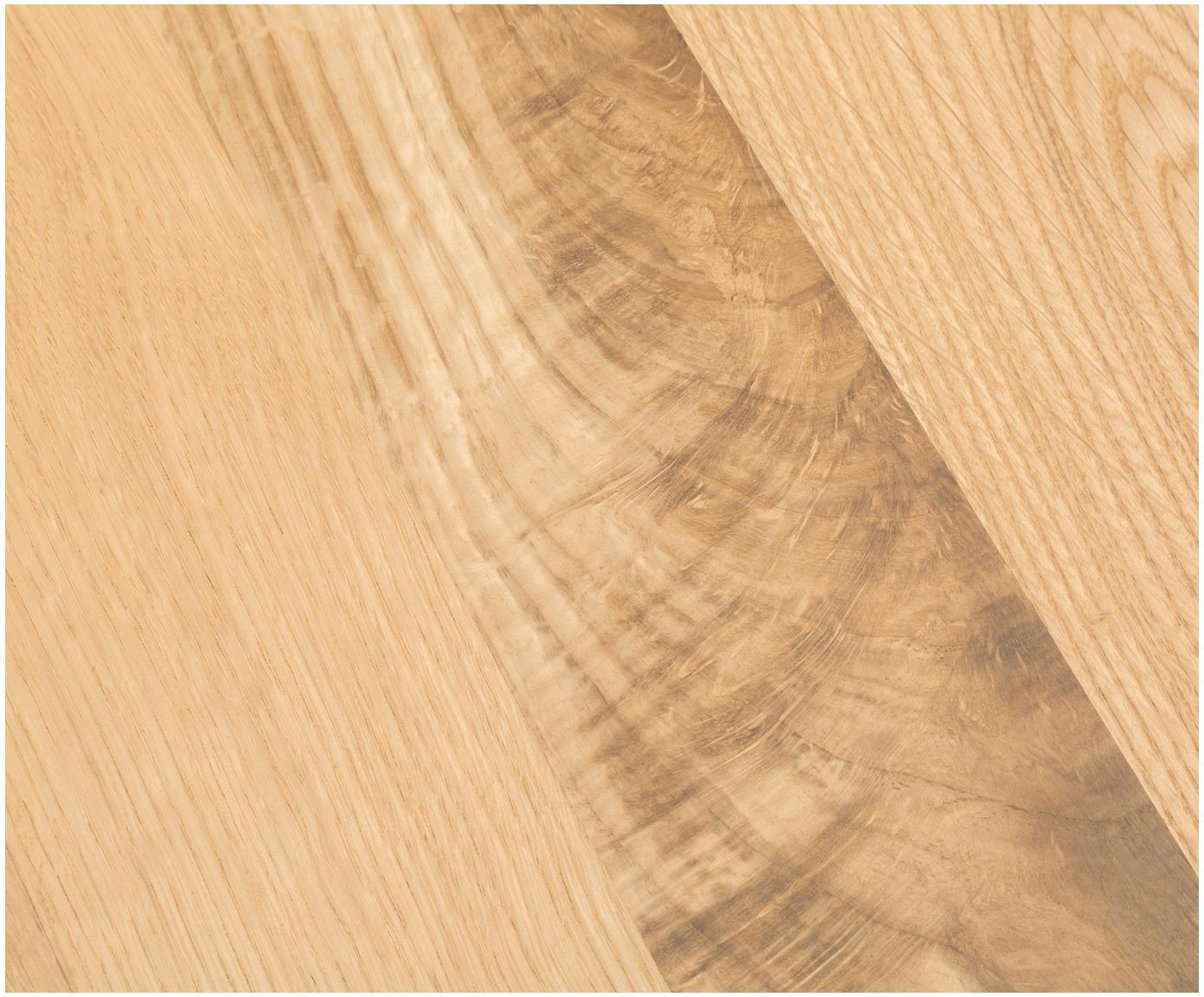 Stół do jadalni  z litego drewna Oliver, Blat: europejskie, lite, dzikie, Nogi: matowa stal szlachetna , , Blat: dzikie drewno dębowe Nogi: stal szlachetna, matowy szczotkowany, S 180 x G 90 cm