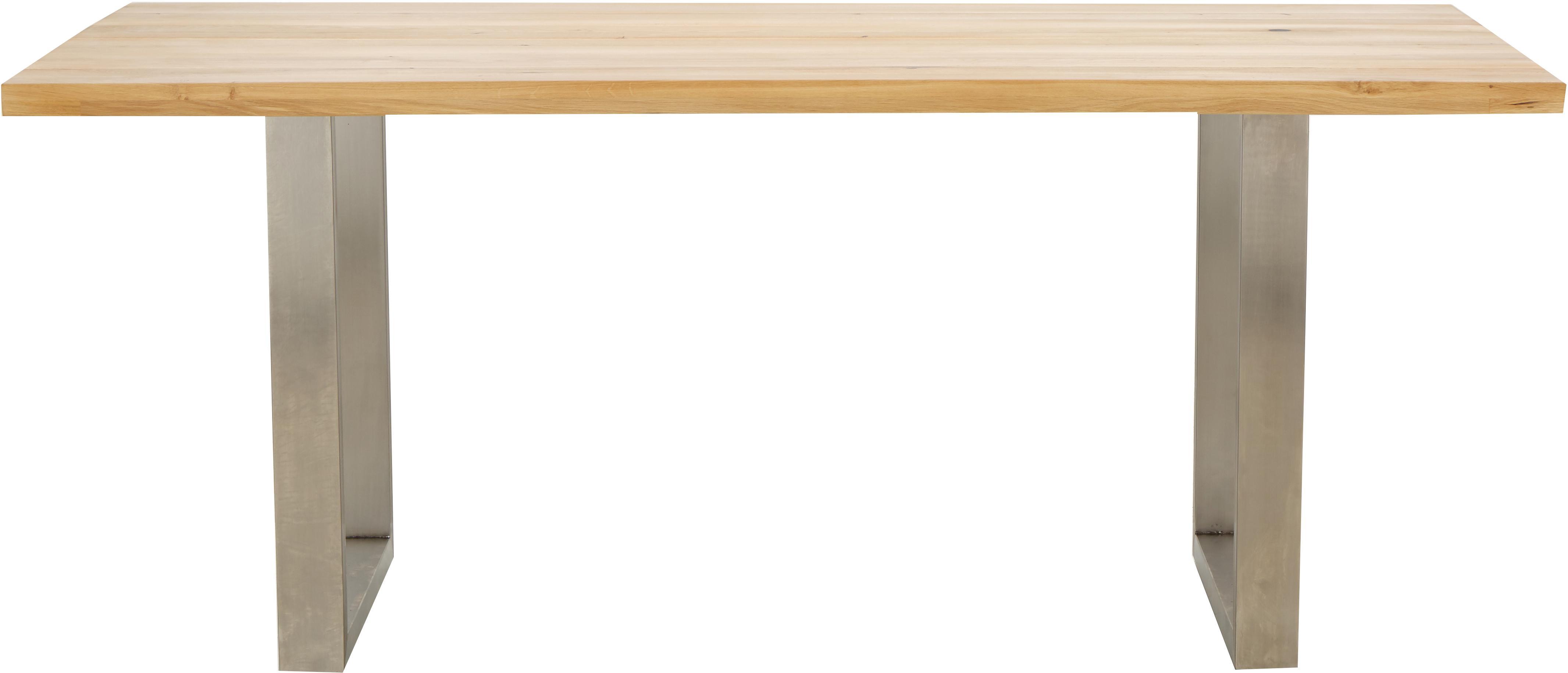 Tavolo con piano in legno massello Oliver, Piano d'appoggio: quercia selvatica europea, Gambe: opaco spazzolato acciaio , Piano d'appoggio: quercia selvatica Gambe: bianco, Larg. 180 x Prof. 90 cm