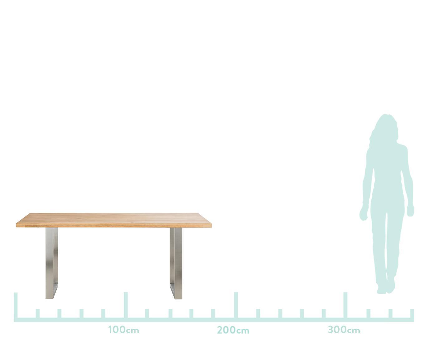 Massief houten eettafel Oliver, Tafelblad: geolied massief Europees , Poten: mat gelakt staal Het FSC-, Tafelblad: eikenhoutkleurig. Poten: mat geborsteld edelstaalkleurig, B 180 x D 90 cm