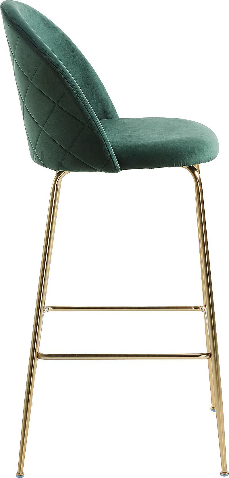 Samt-Barstuhl Ivonne, Bezug: Polyestersamt, Gestell: Metall, lackiert, Dunkelgrün, Goldfarben, 53 x 108 cm
