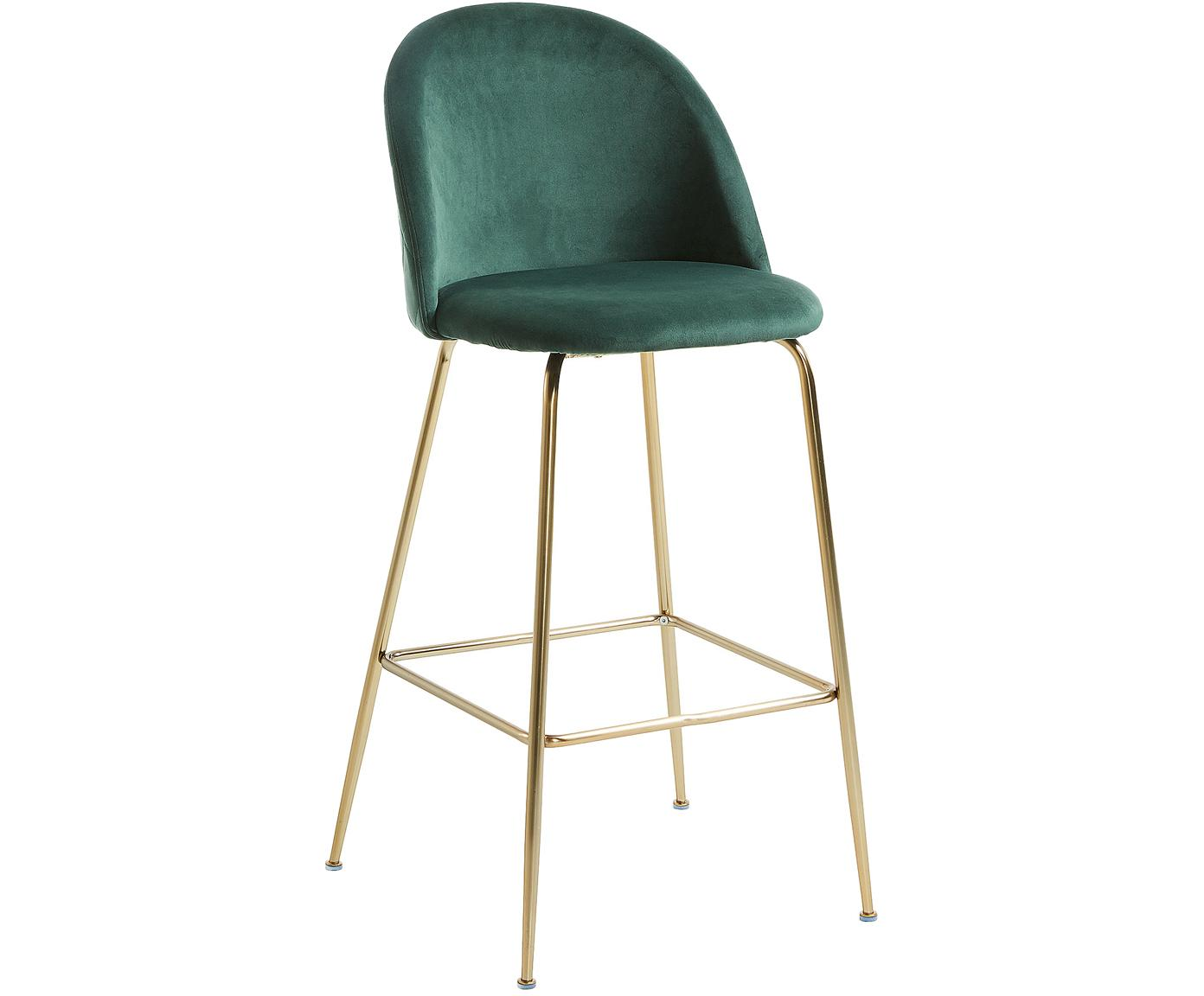 Fluwelen barkruk Ivonne, Bekleding: polyester fluweel, Frame: gelakt metaal, Donkergroen, goudkleurig, 53 x 108 cm