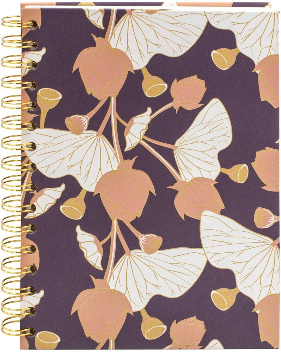 Notizbuch Lotus, Lila, Rosa, Gelb, Weiss, 16 x 21 cm