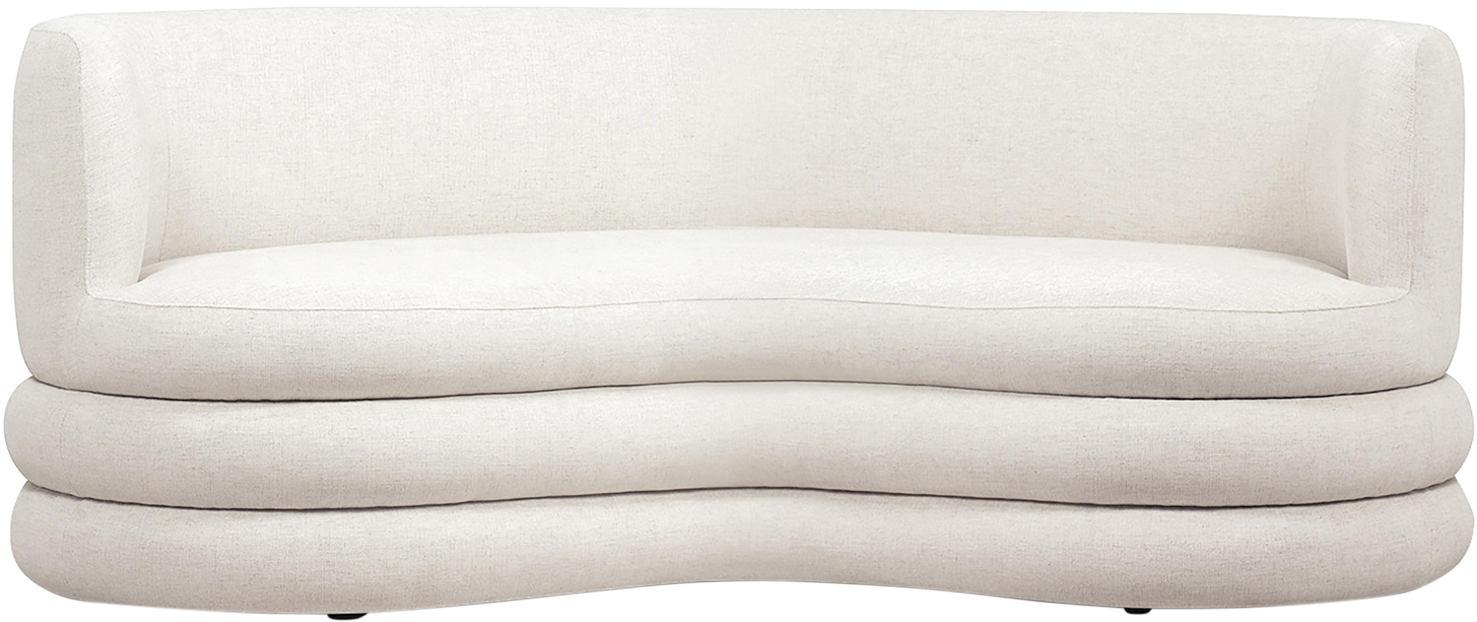 Divano 3 posti in tessuto beige Solomon, Struttura: abete massiccio, material, Piedini: plastica, Rivestimento: beige Piedini: nero, Larg. 200 x Prof. 95 cm