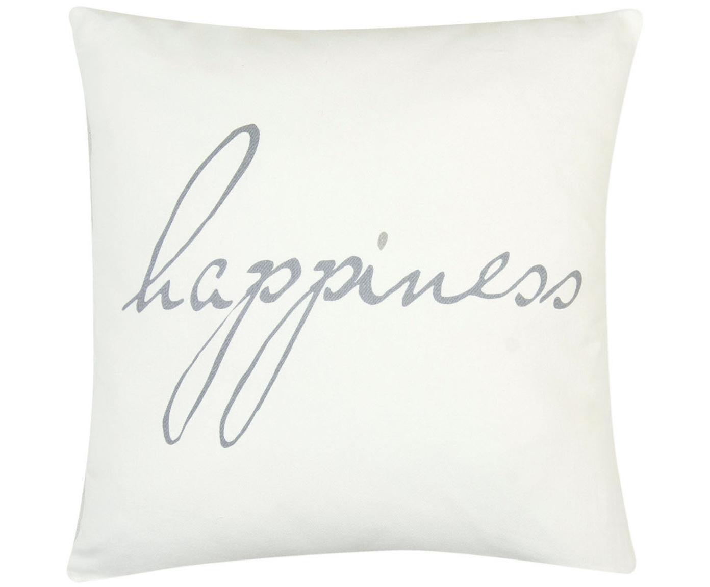 Kissenhülle Happiness mit Schriftzug, 100% Baumwolle, Panamabindung, Grau, Creme, 40 x 40 cm