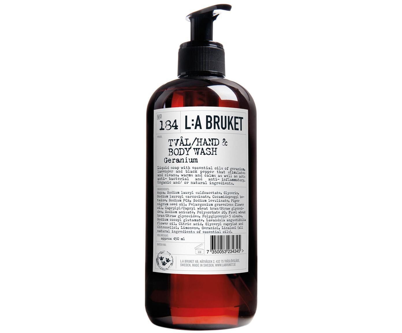 Jabón de manos Geranium (geranio), Recipiente: plástico, Marrón, 450 ml