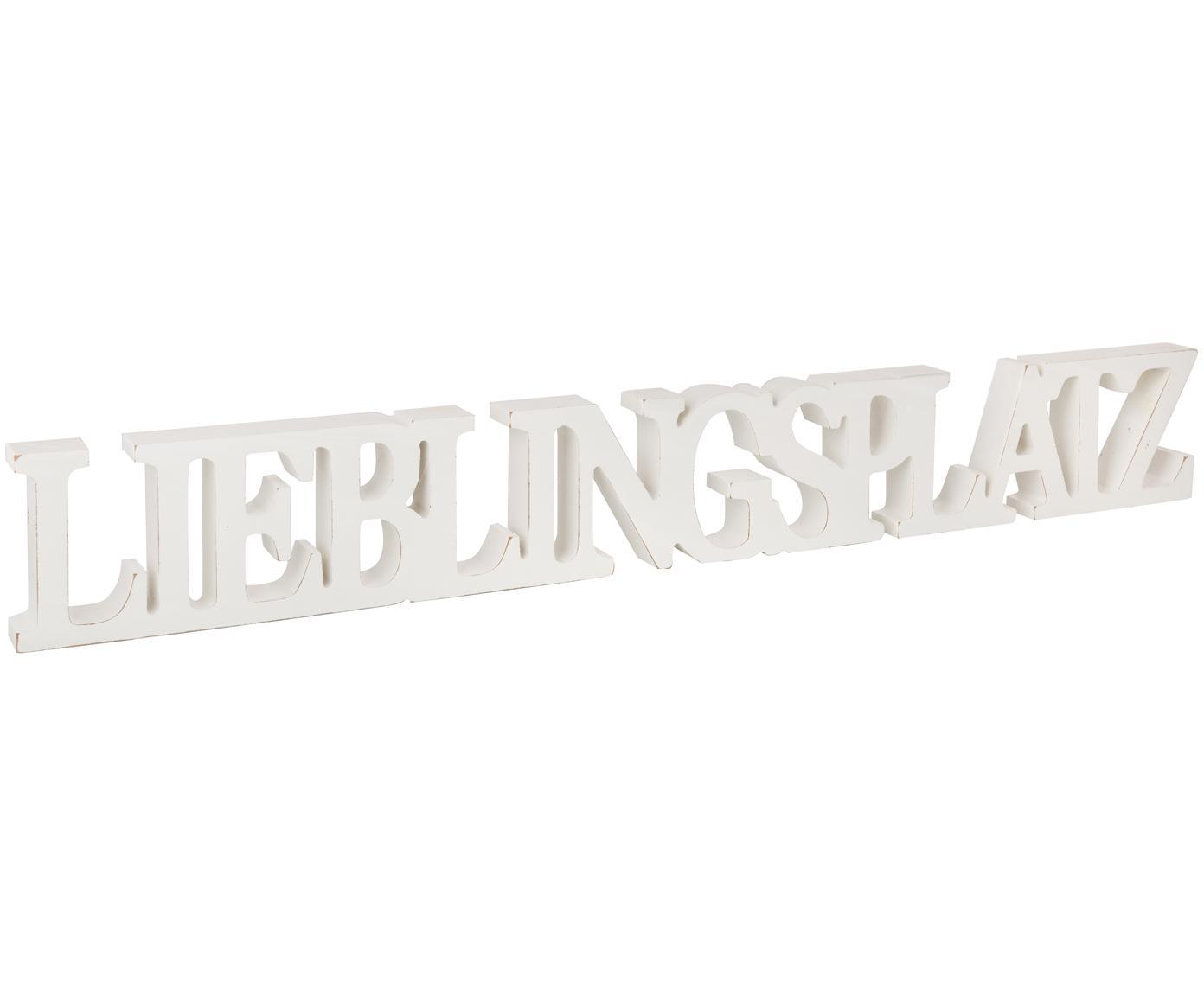 Deko-Objekt Lieblingsplatz, Mitteldichte Faserplatte (MDF), lackiert, Weiss, 60 x 8 cm