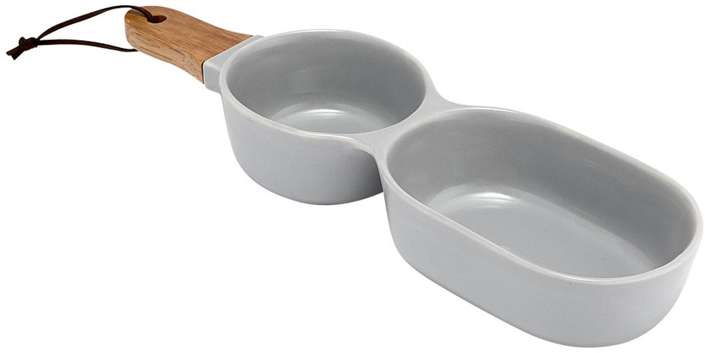 Servierschale Classic in Grau mit Holzgriff, Schale: Porzellan, Griff: Gummibaumholz, Grau, B 35 x T 10 cm