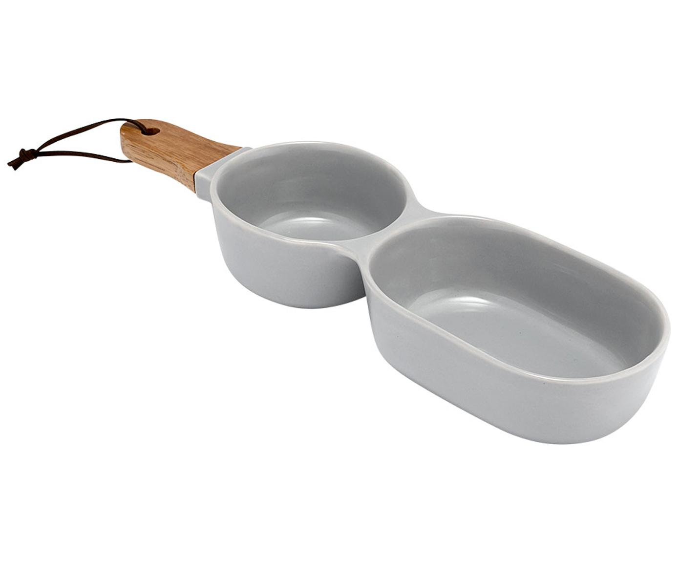 Servierschale Classic, Schale: Porzellan, Griff: Gummibaumholz, Grau, B 35 x T 10 cm