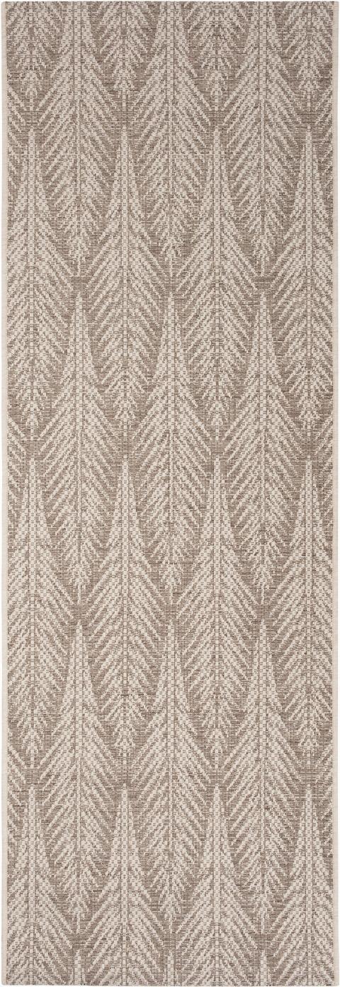 Design in- en outdoor loper Pella met grafisch patroon, Polypropyleen, Taupe, beige, 70 x 200 cm