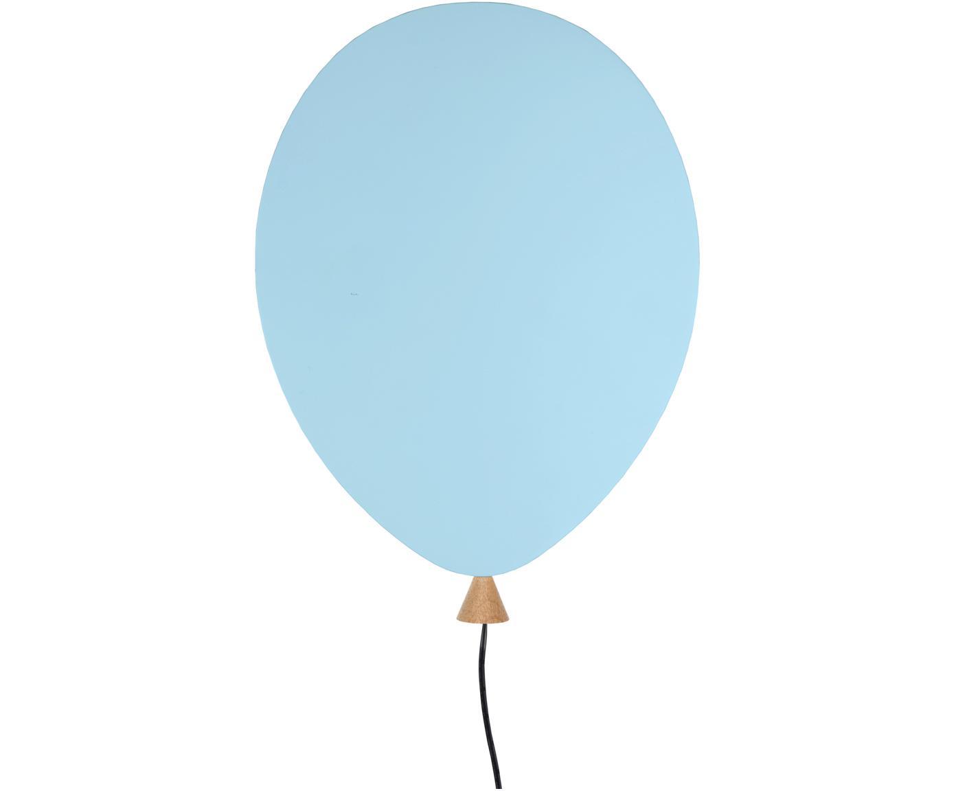 Wandlamp Balloon met stekker, Lampenkap: gecoat hout, Blauw, 25 x 35 cm